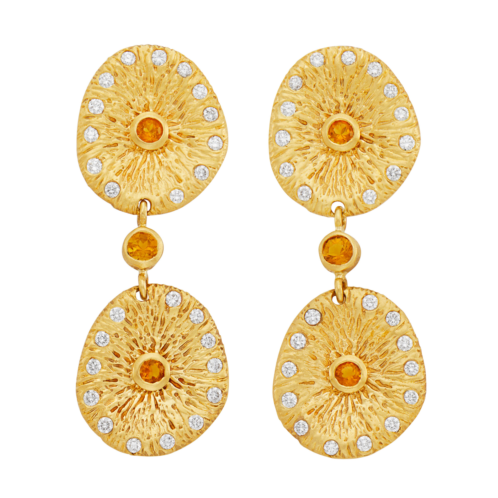 Lot image - Pair of Gold and Citrine Pileus Pendant-Earrings, Catherine Zadeh