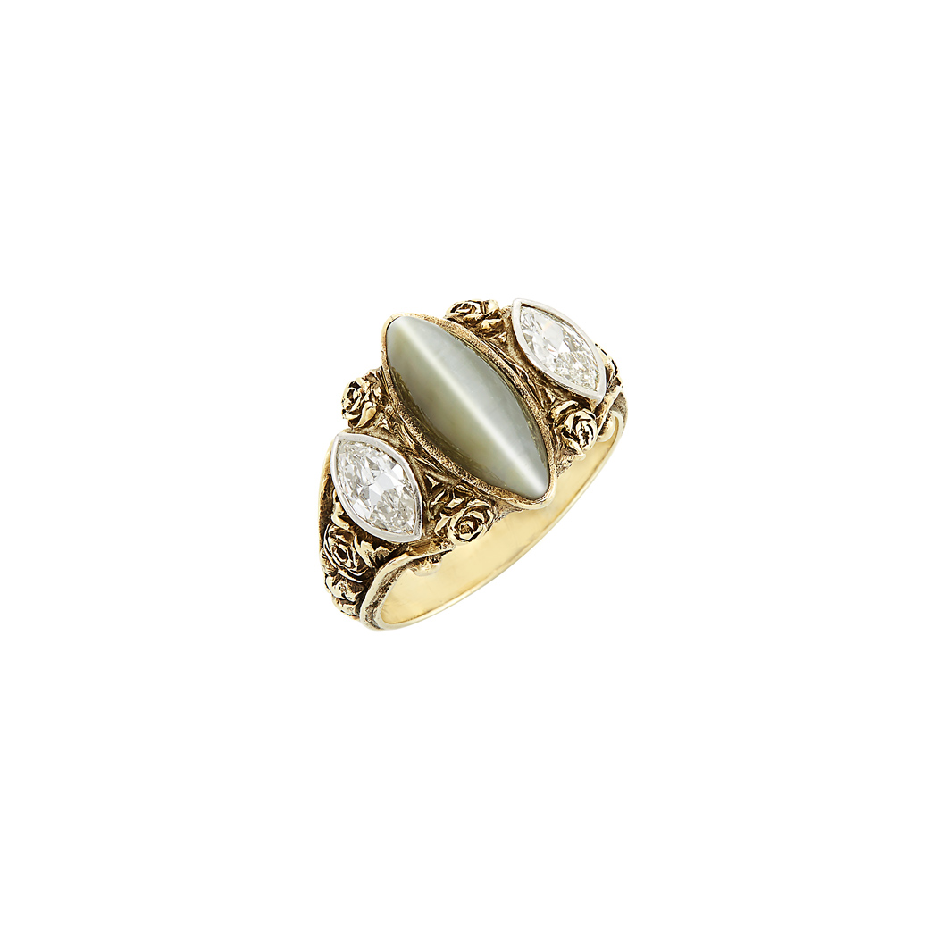 Lot image - Antique Gold, Platinum, Cat's Eye Chrysoberyl and Diamond Ring