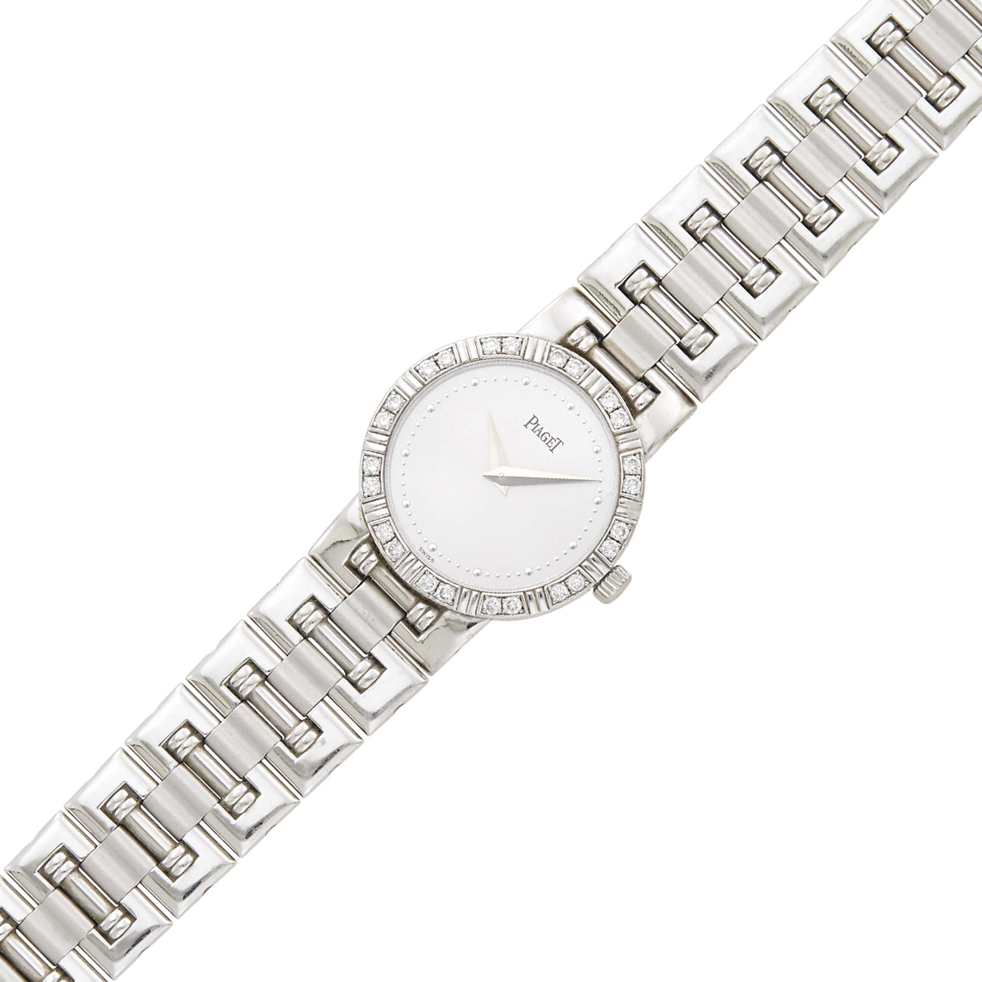 Lot image - Piaget White Gold and Diamond Dancer Wristwatch