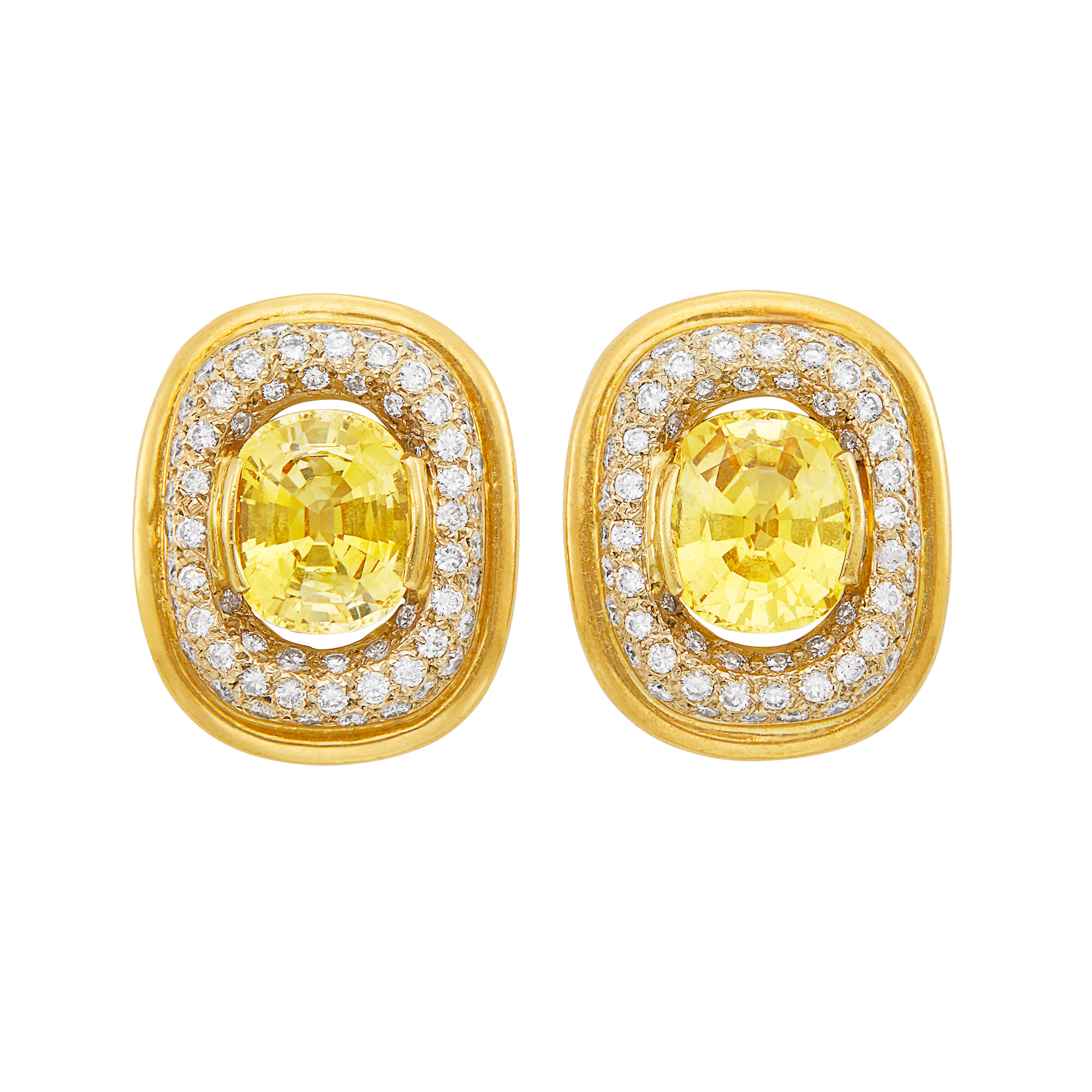 Lot image - Pair of Gold, Yellow Sapphire and Diamond Earclips