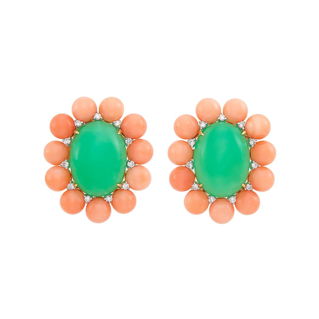 Lot image - Pair of Gold, Green Chrysoprase, Coral and Diamond Earclips
