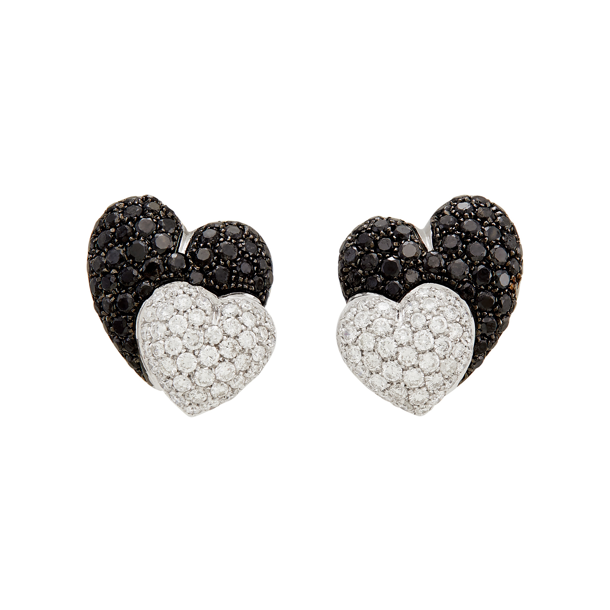 Lot image - Pair of Two-Color Gold, Diamond and Black Diamond Double Heart Earclips
