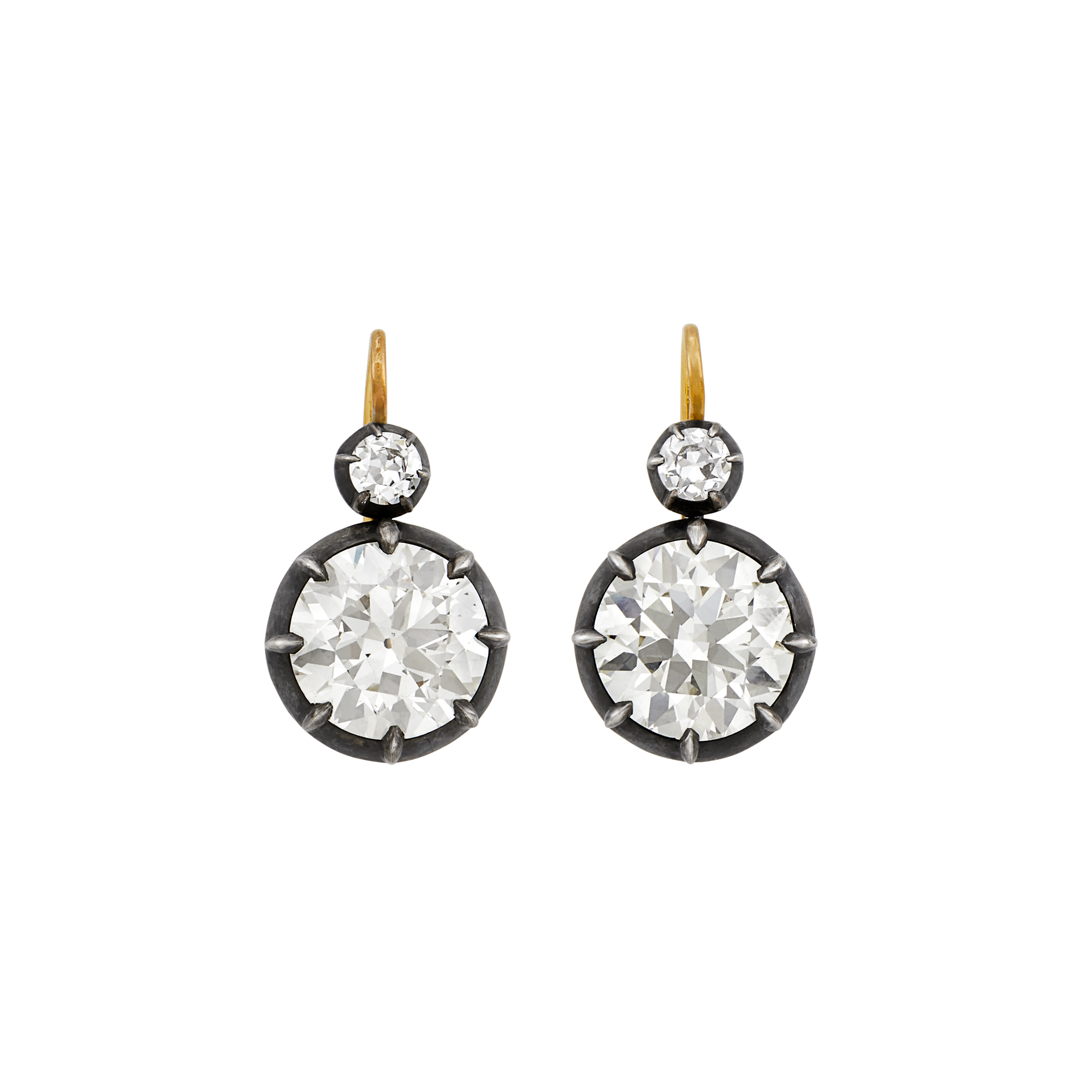 Lot image - Pair of Silver, Gold and Diamond Earrings