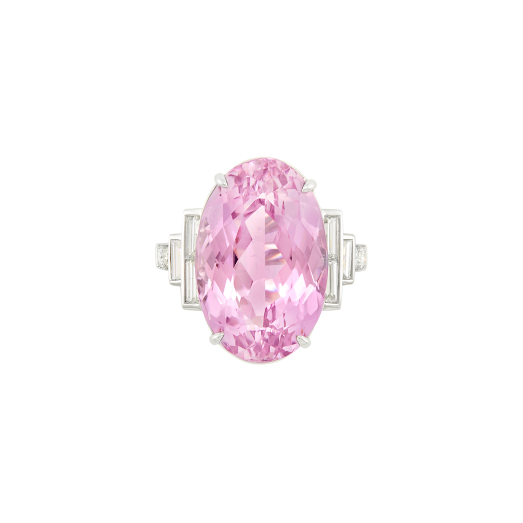 Lot image - White Gold, Kunzite and Diamond Ring