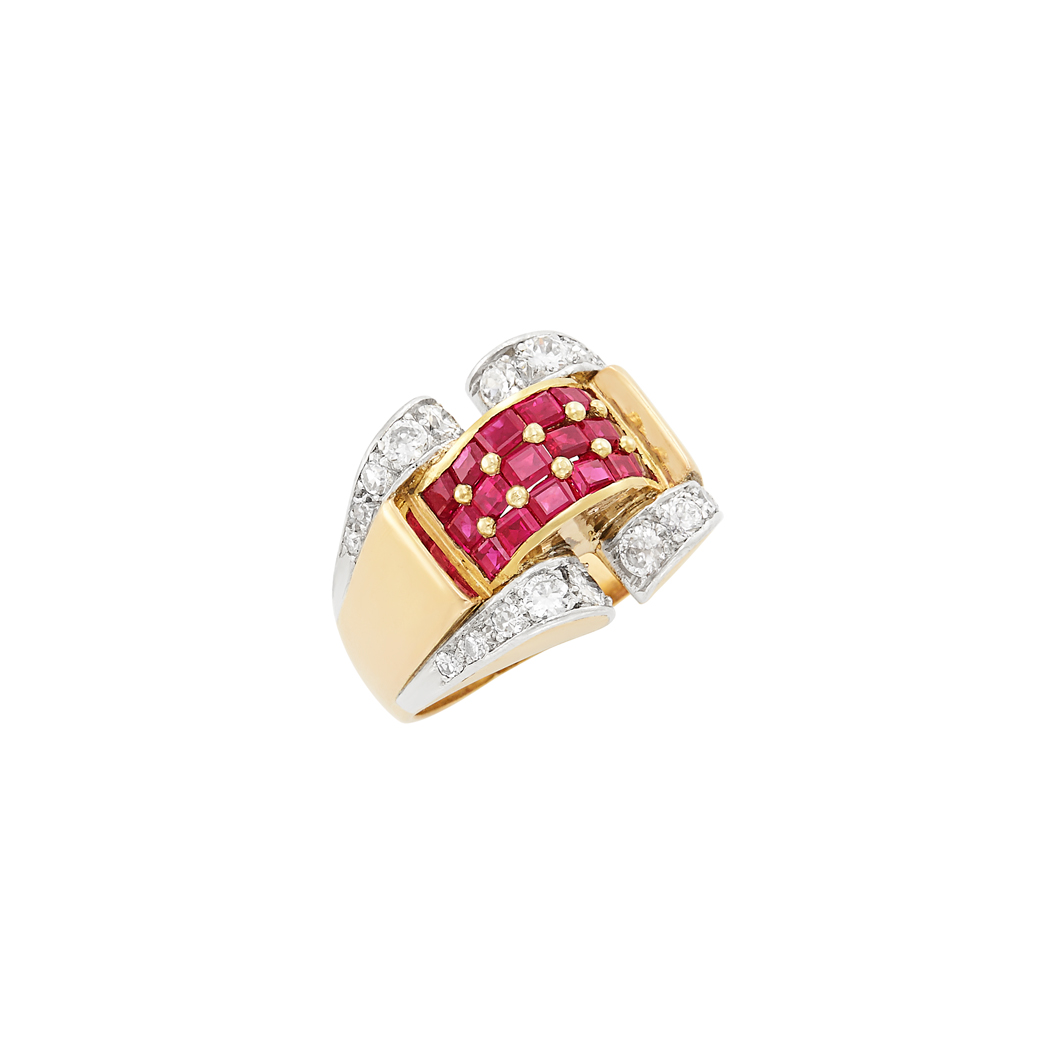 Lot image - Retro Gold, Platinum, Ruby and Diamond Ring