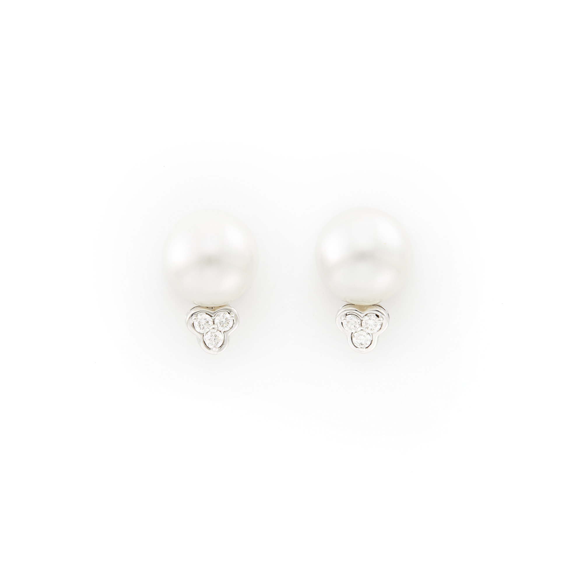 Lot image - Pair of White Gold, Cultured Pearl and Diamond Earrings
