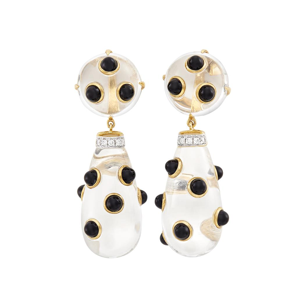 Lot image - Pair of Gold, Rock Crystal, Black Onyx and Diamond Pendant-Earclips