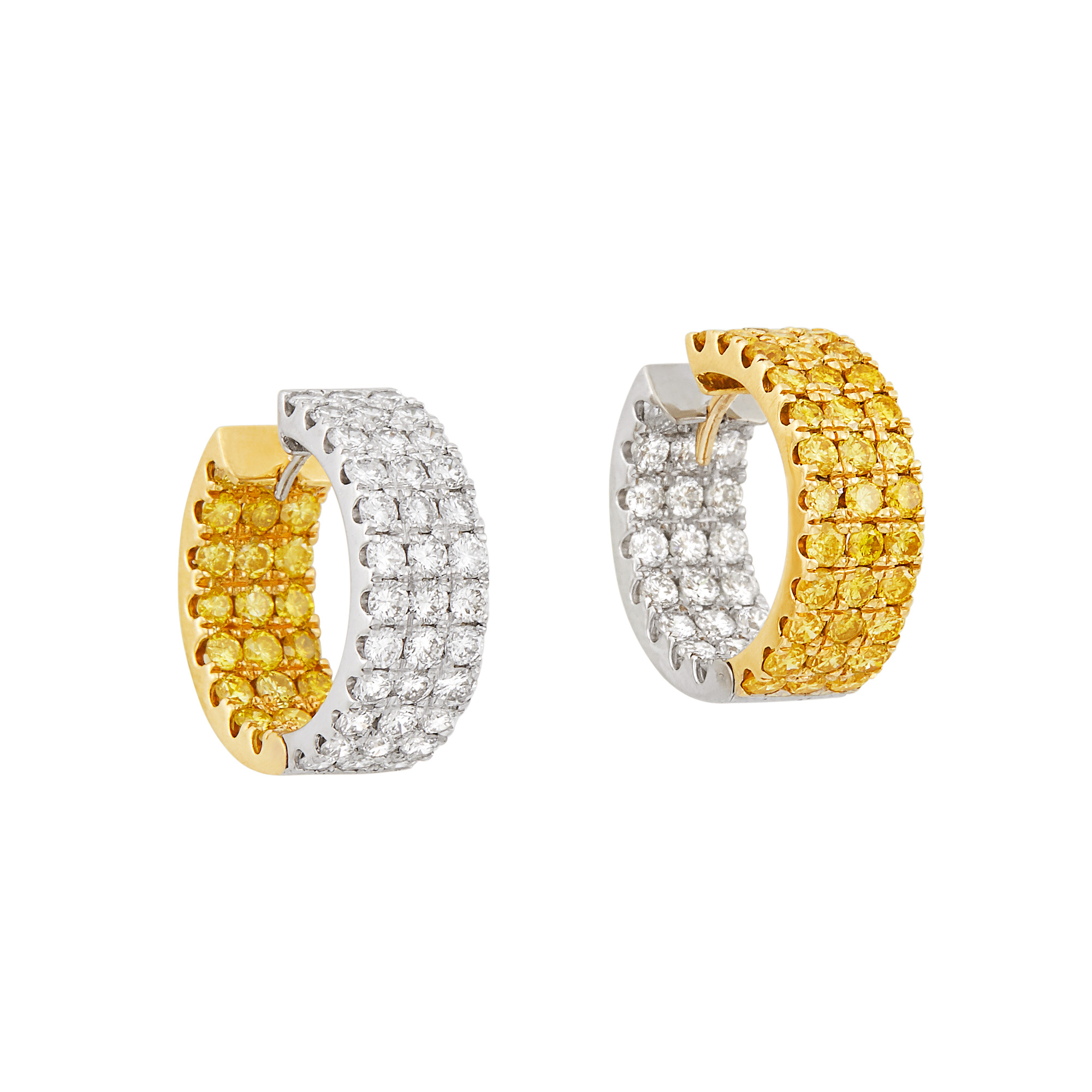 Lot image - Pair of Two-Color Gold, Diamond and Yellow Diamond Hoop Earrings