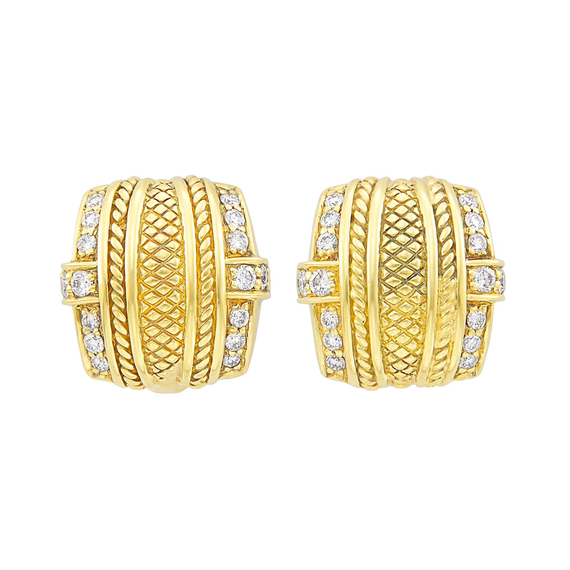 Lot image - Pair of Gold and Diamond Earrings, Judith Ripka
