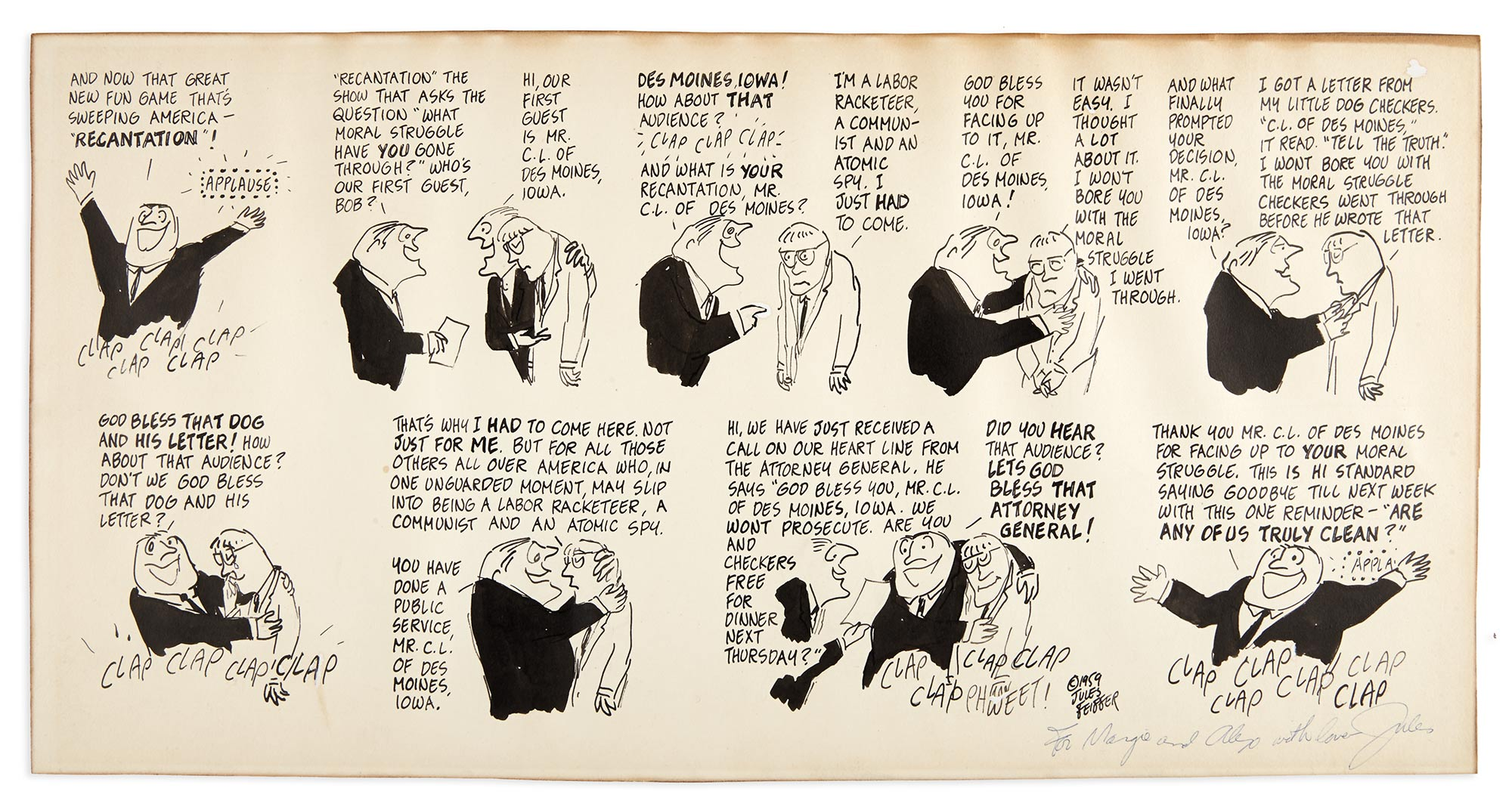 Lot image - FEIFFER, JULES  Untitled [The recantation show].