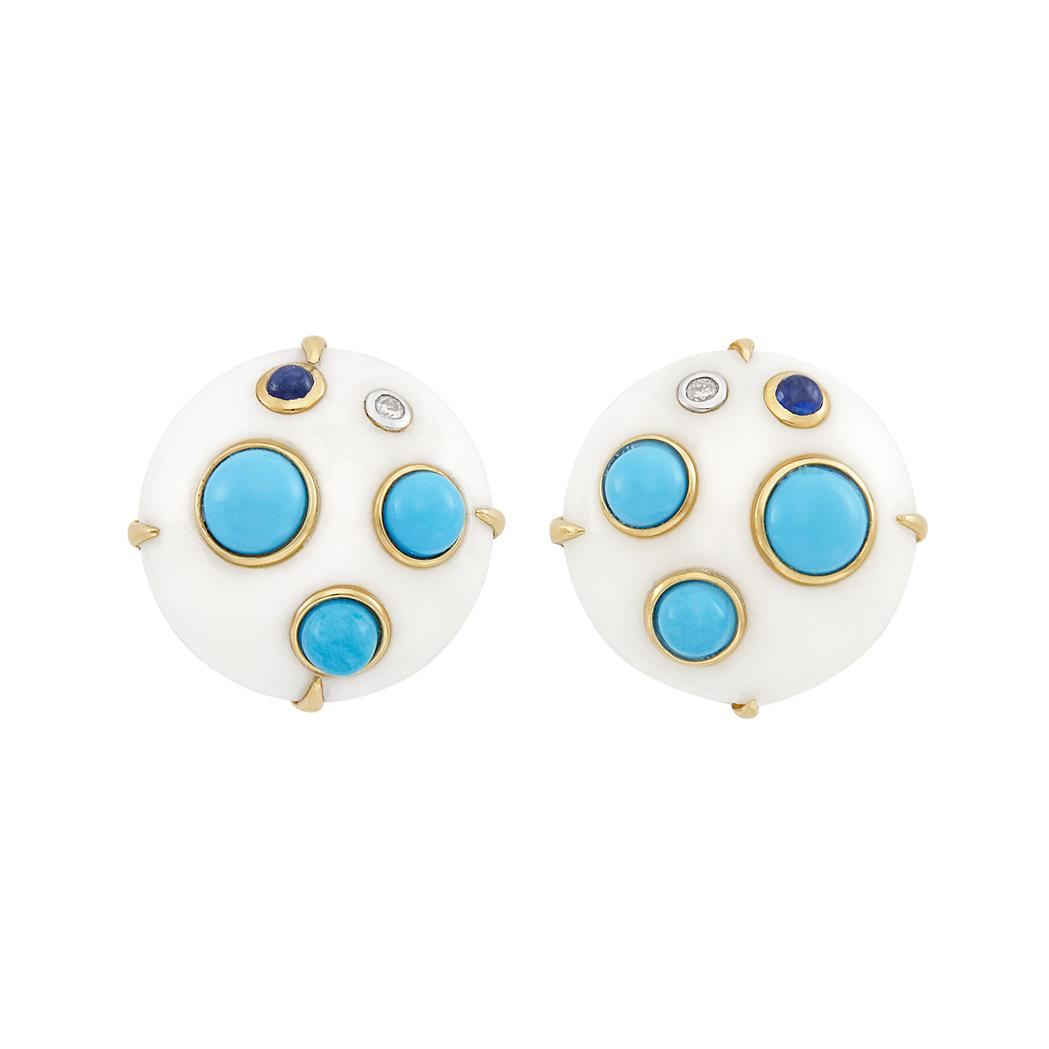 Lot image - Pair of Gold, White Agate, Turquoise, Cabochon Sapphire and Diamond Earclips
