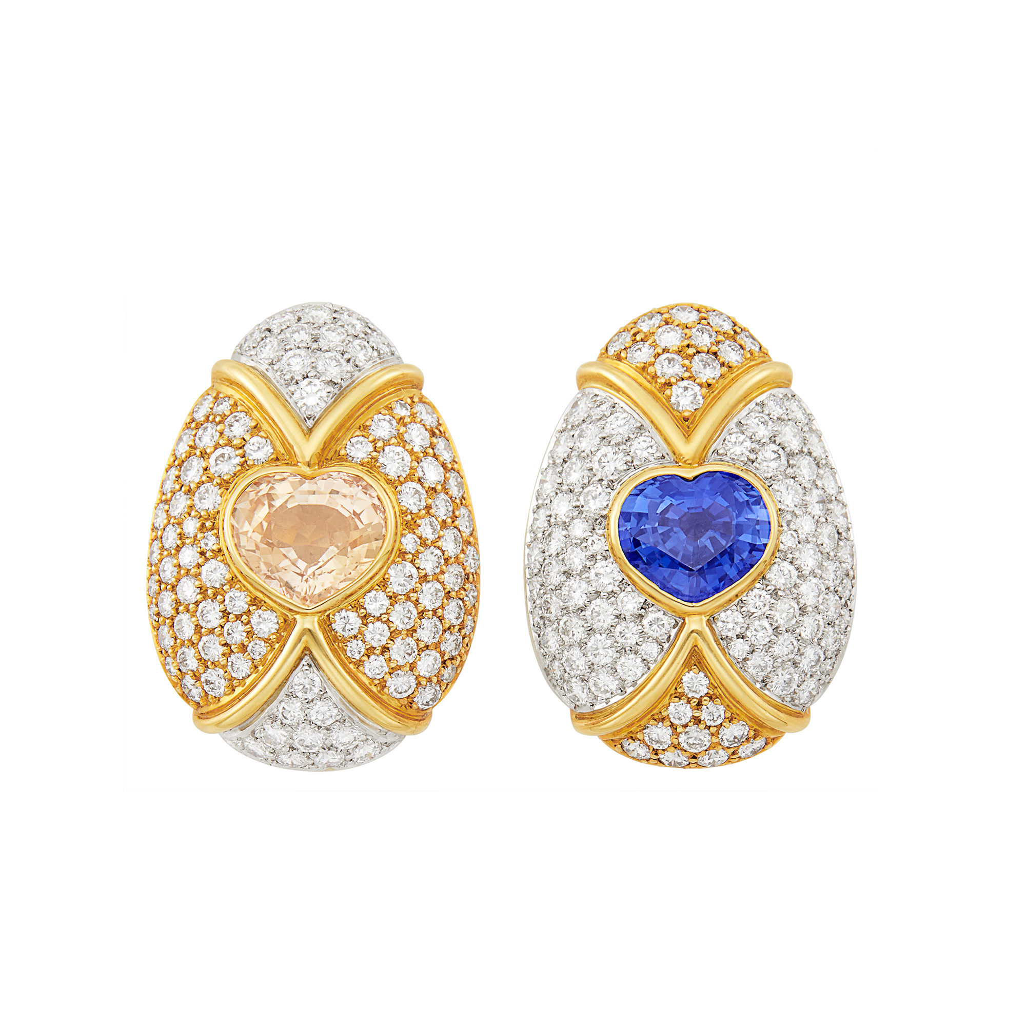 Lot image - Pair of Gold, Platinum, Multicolored Sapphire and Diamond Earclips