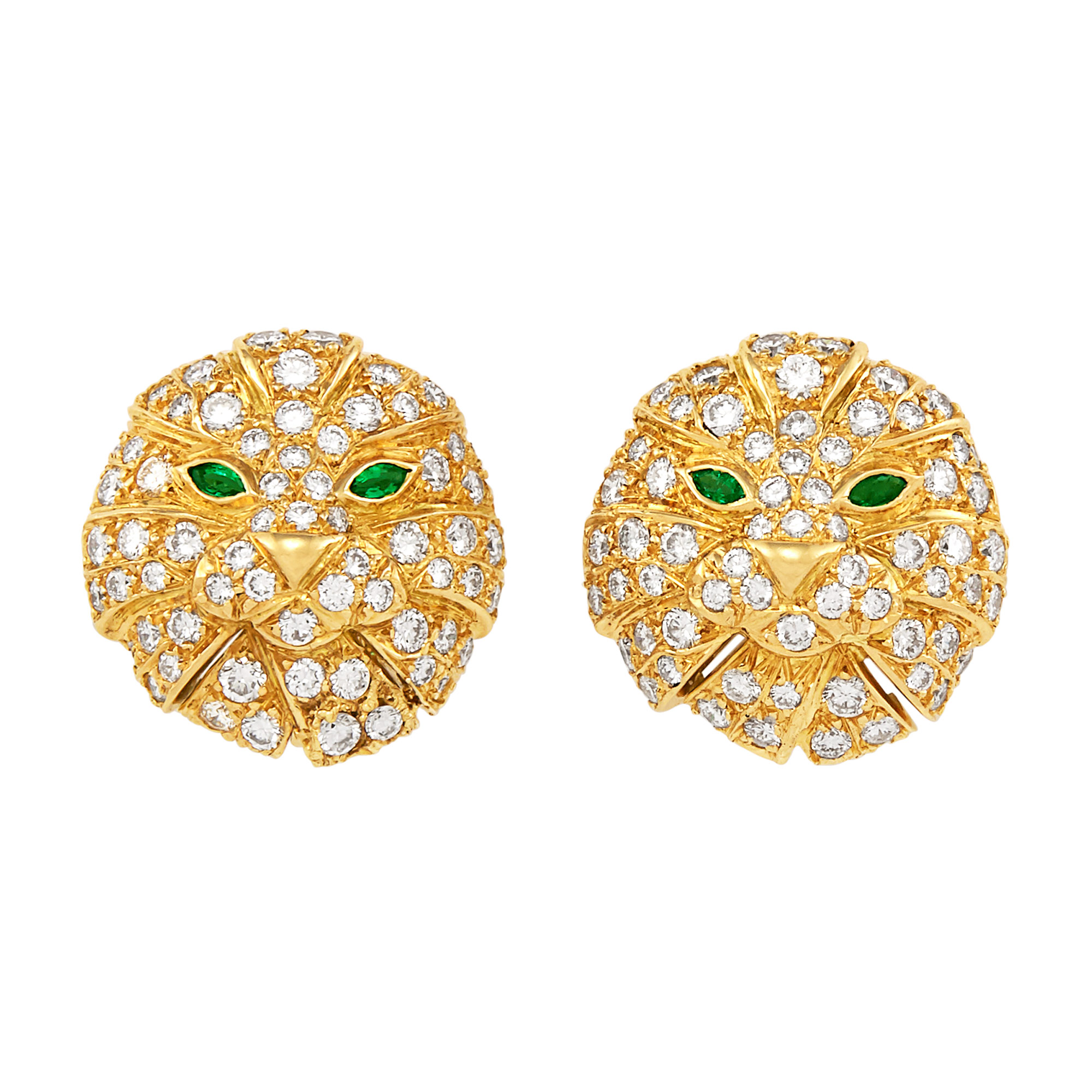 Lot image - Pair of Gold, Diamond and Emerald Lion Earclips, Boucheron, France