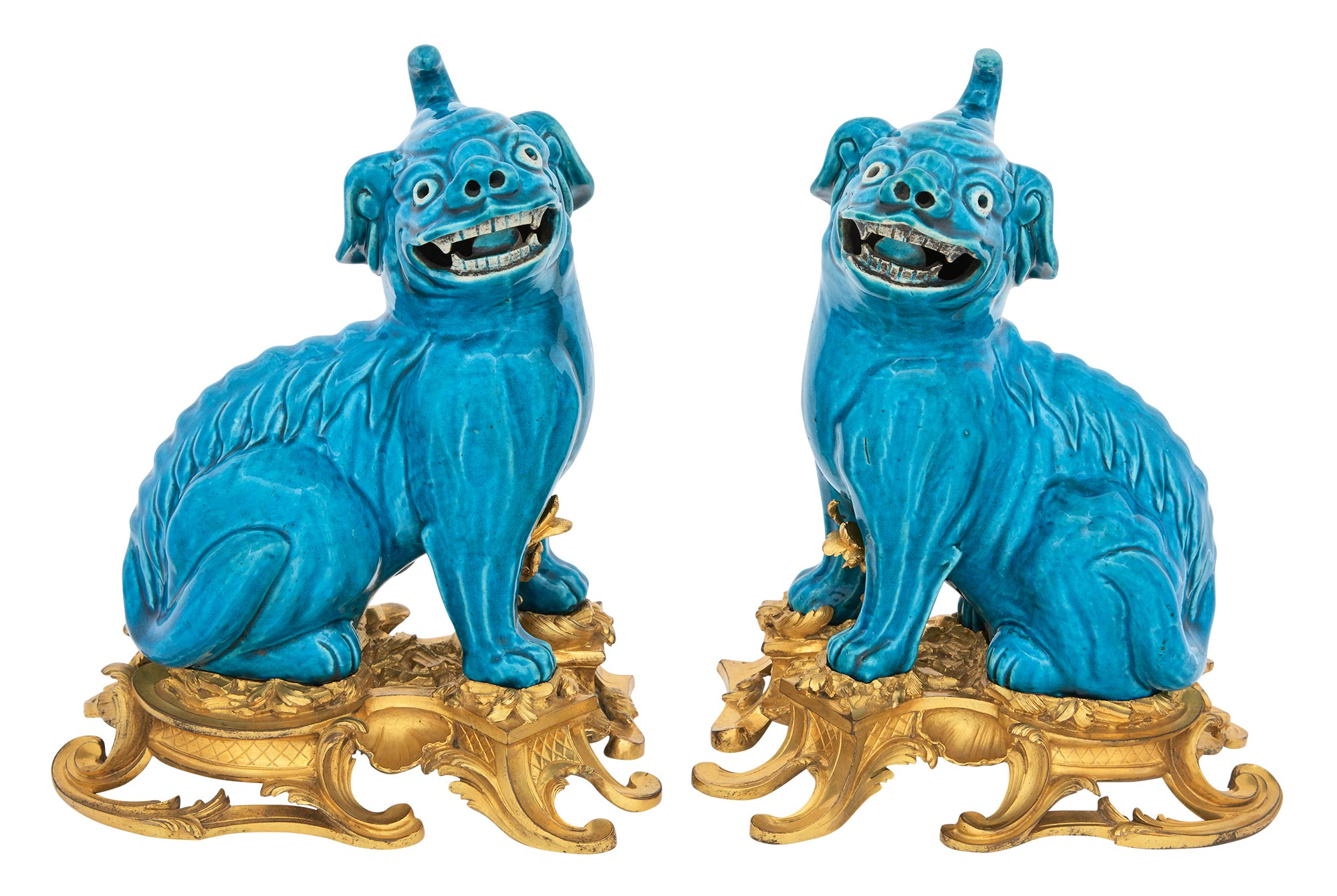 Lot image - Pair of Gilt-Bronze Mounted Chinese Turquoise Glazed Porcelain Fu Lions