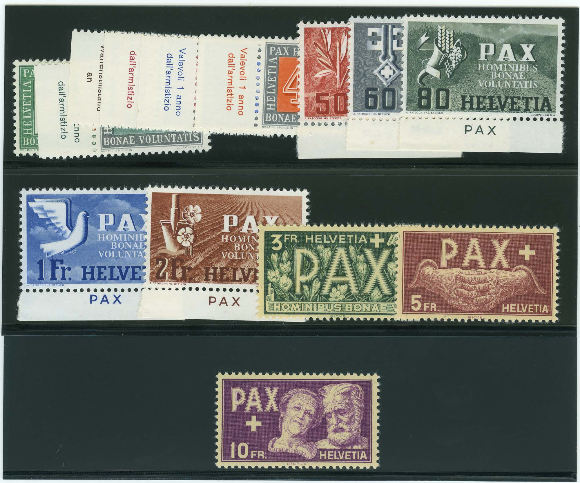 Lot image - Switzerland 1945 Peace Issue Set Scott 293-305, B145