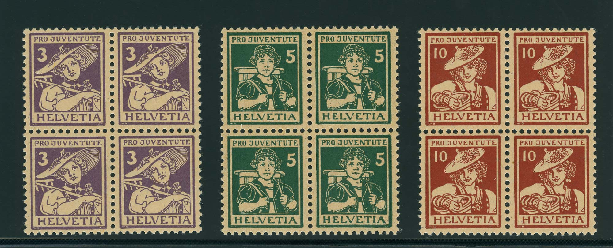 Lot image - Switzerland Semi-Postals 1916 Pro Juvenate Blocks of Four Scott B4-6