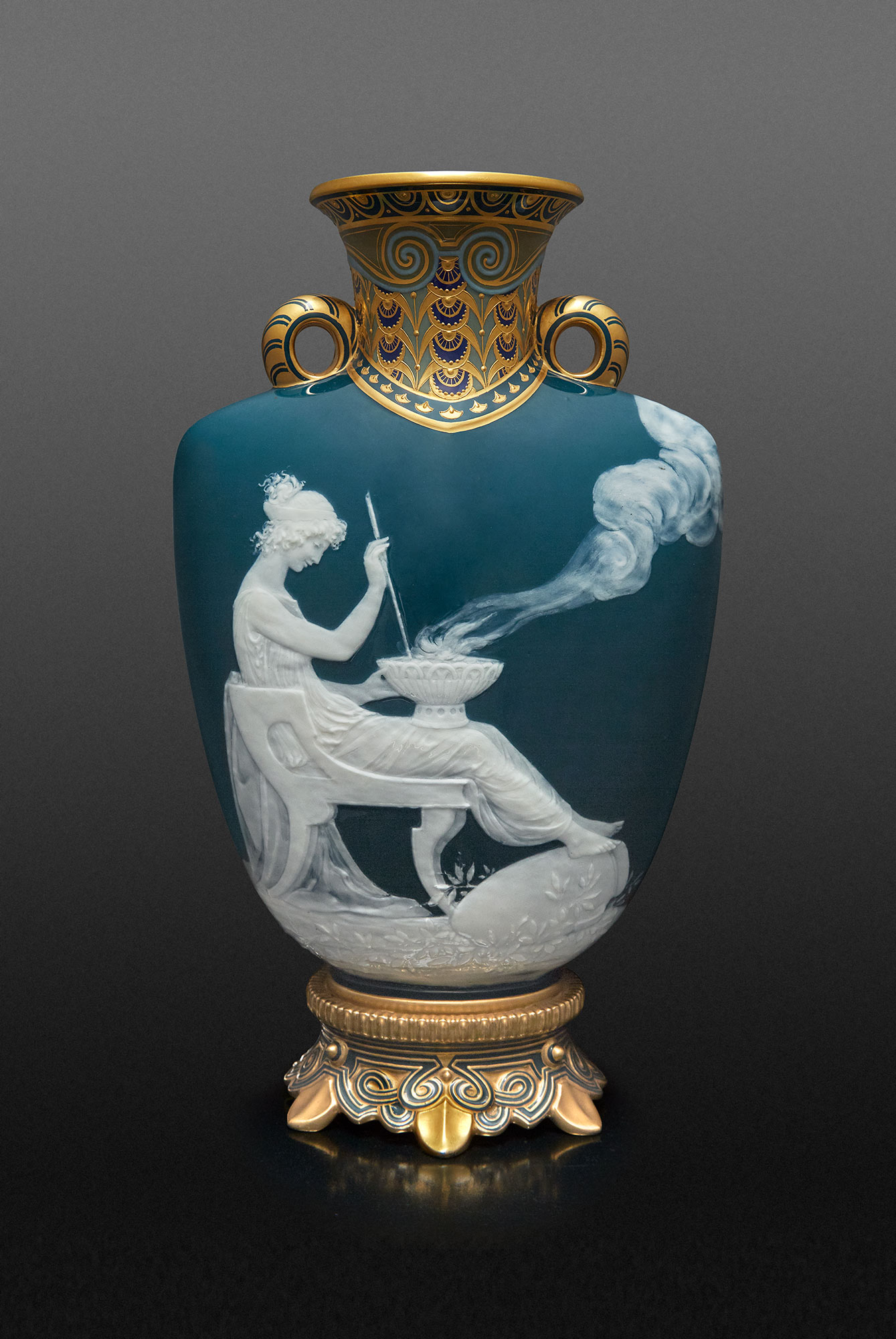 Lot image - Mintons Gilt Decorated Pâte-sur-Pâte Porcelain Vase