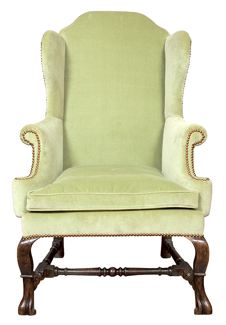 Lot image - George I Upholstered Walnut Wing Chair