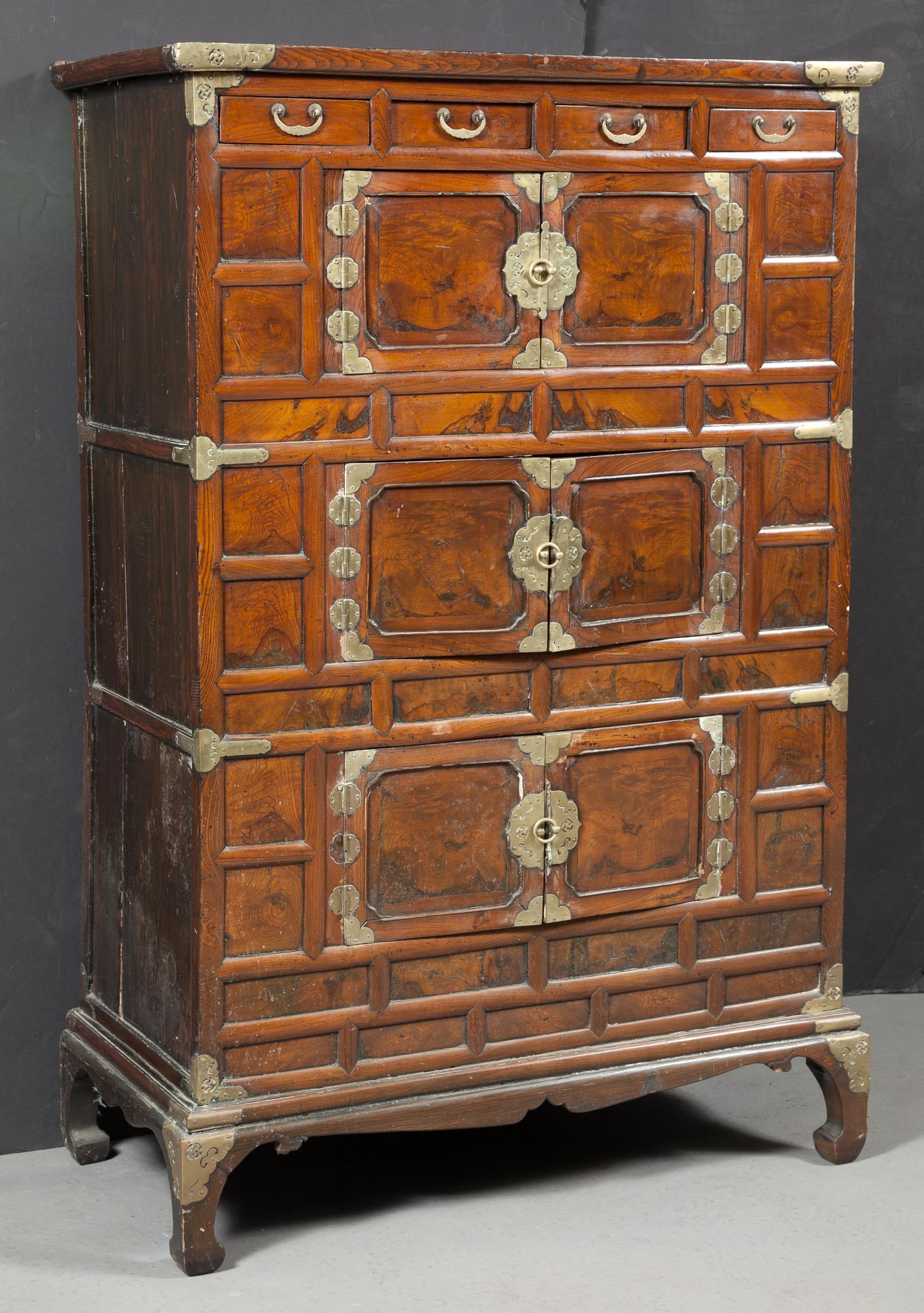 Lot image - Asian Elmwood and Brass-Mounted Cabinet