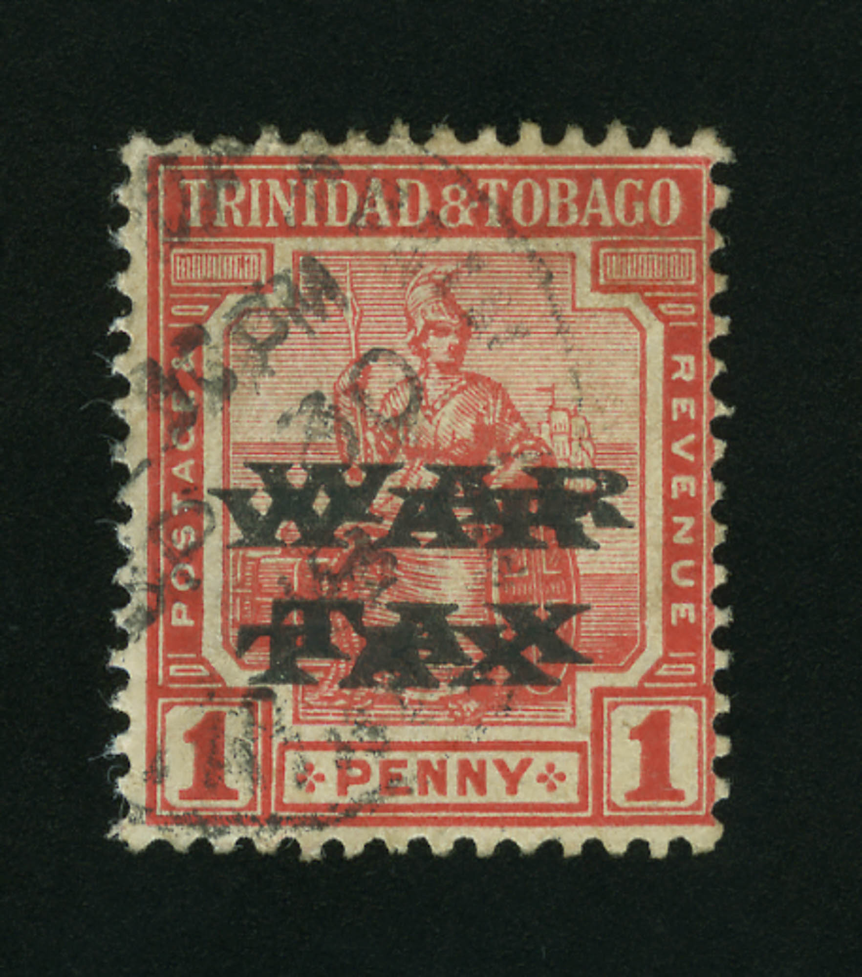 Lot image - Trinidad and Tobago War Tax 1918 1 Penny Double Overprint Scott MR11a