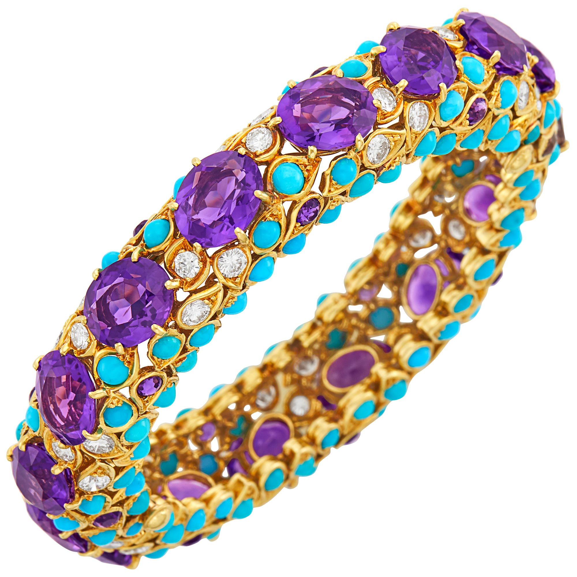 Lot image - Gold, Amethyst, Turquoise and Diamond Bangle Bracelet, Van Cleef & Arpels