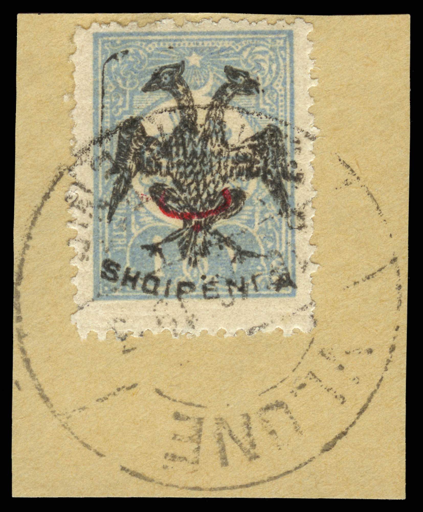 Lot image - Albania 1913 Two Headed Eagle Overprint on 1909 Turkish Issues Scott 4-10, 15, 17