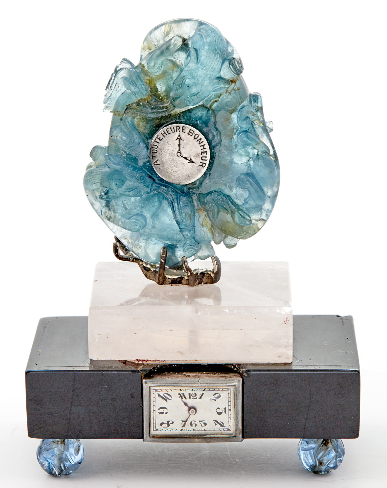 Continental Art Deco Hardstone Table Clock for Sale at