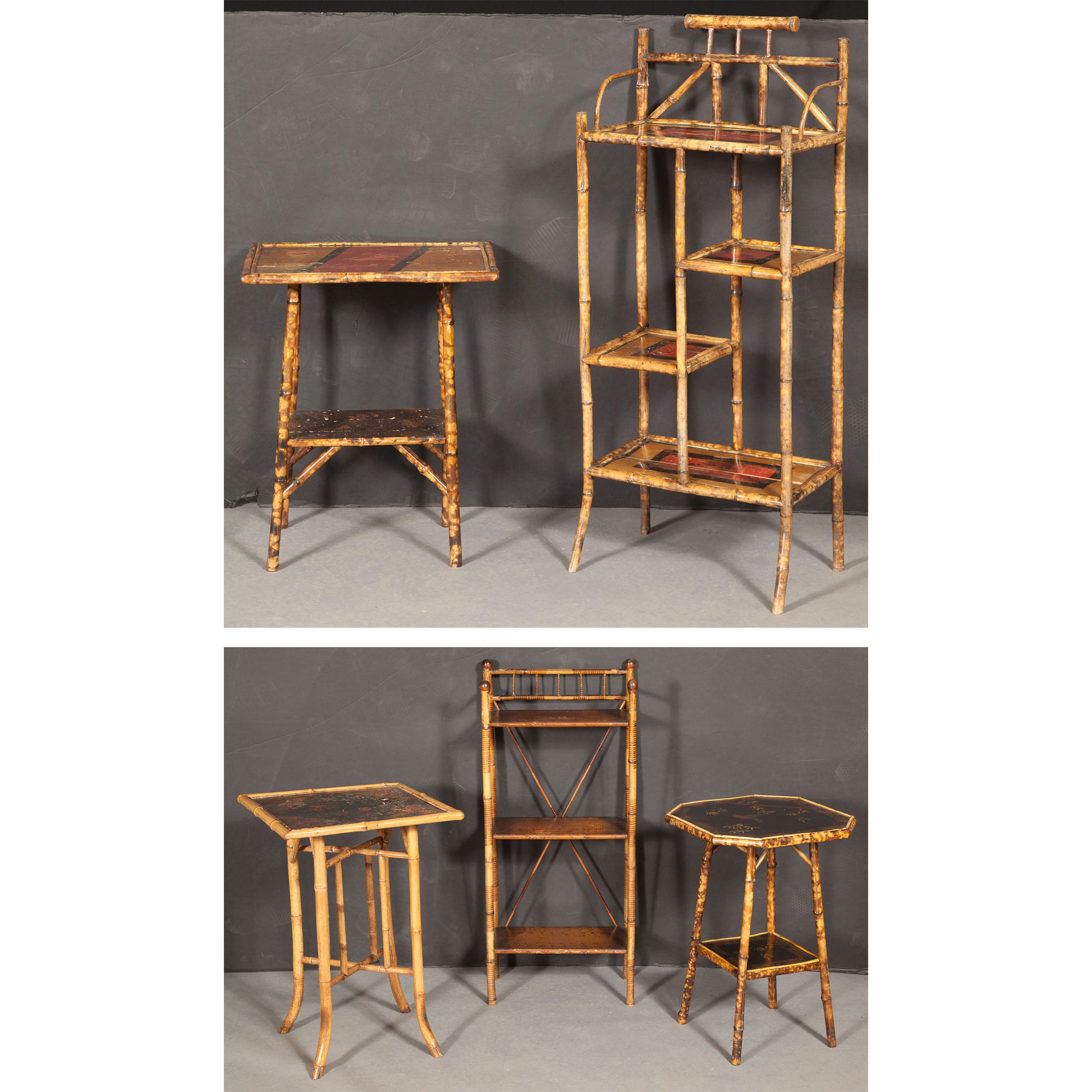 Lot image - Group of Bamboo and Lacquer-Mounted Furniture