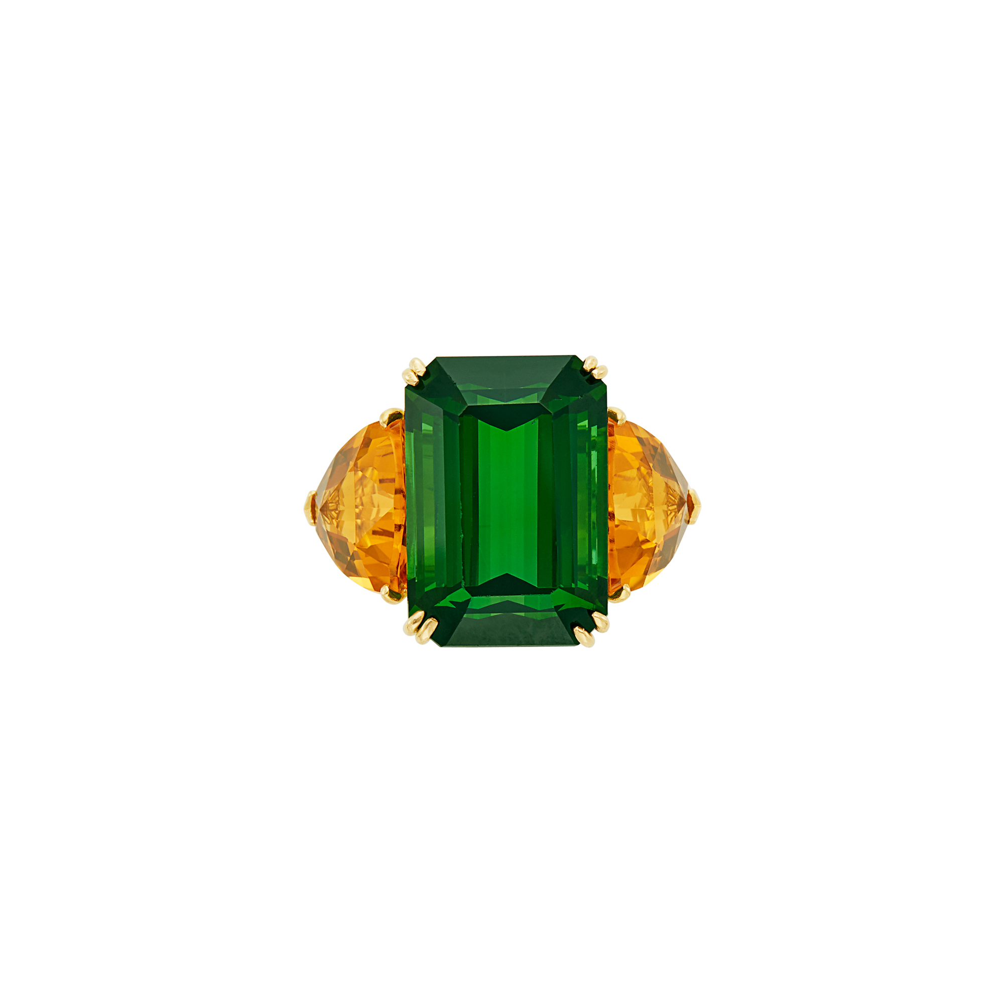 Lot image - Gold, Tourmaline and Citrine Ring