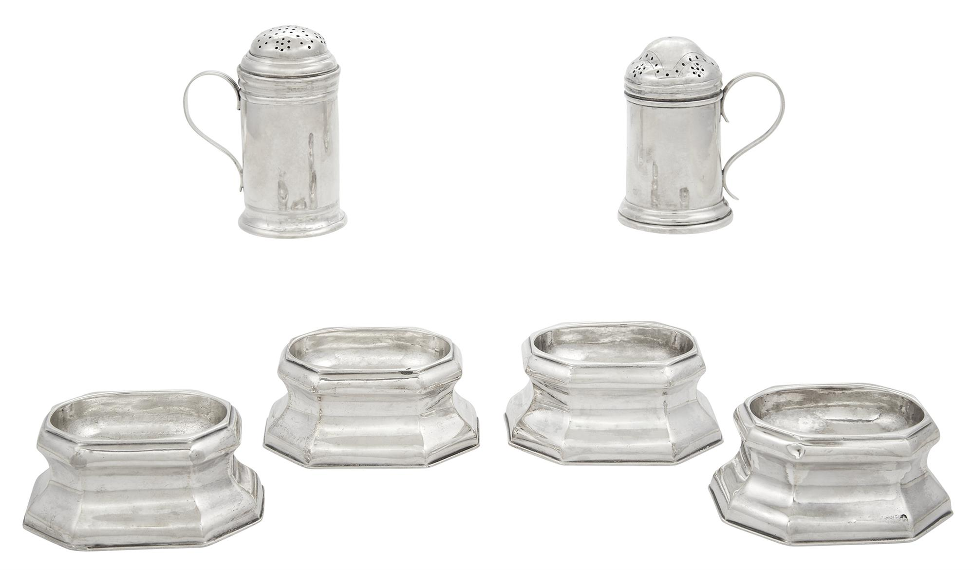 Lot image - Assembled Set of Four George I/II Sterling Silver Trencher Salts