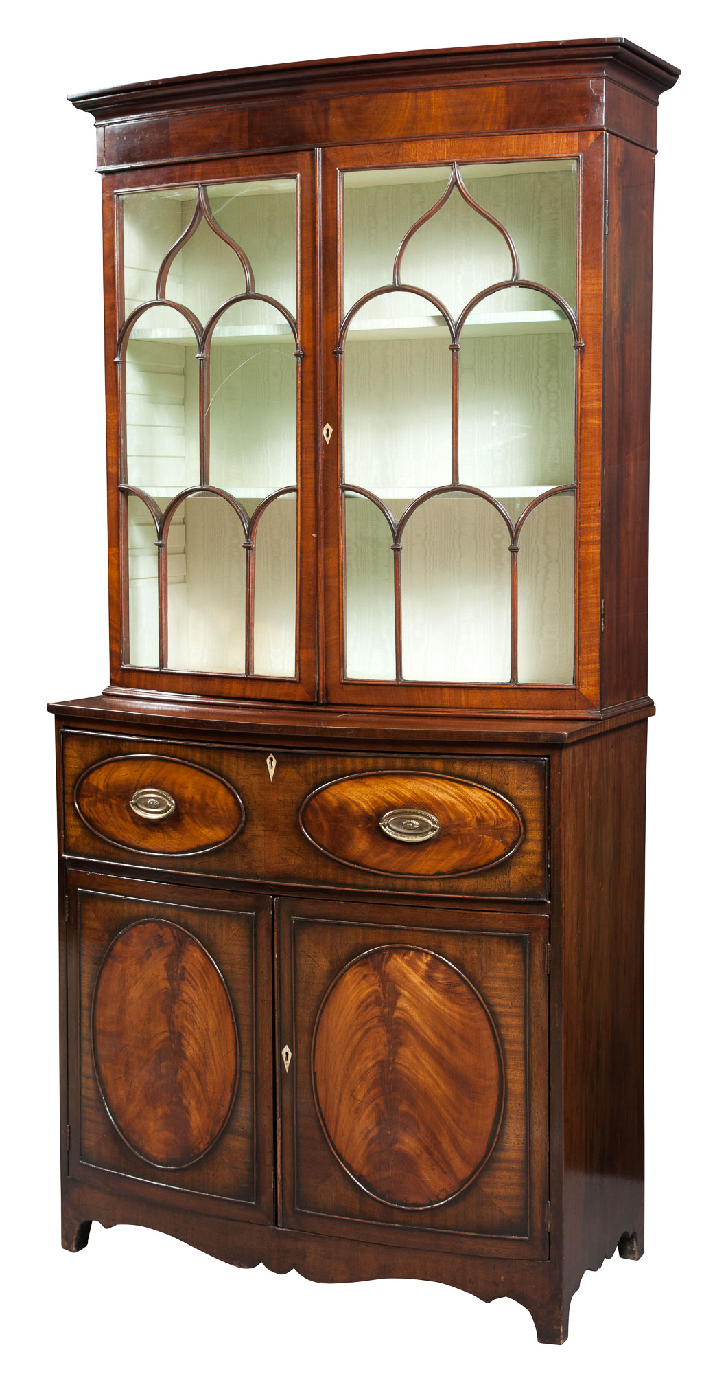 Lot image - George III Style Mahogany Secretaire/Bookcase Cabinet