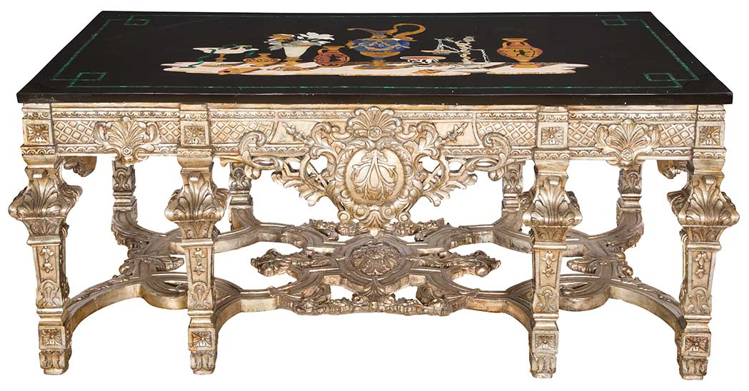 Lot image - Louis XIV Style Silvered-Wood Table with Pietra Dura and Pietra Dura Style Top