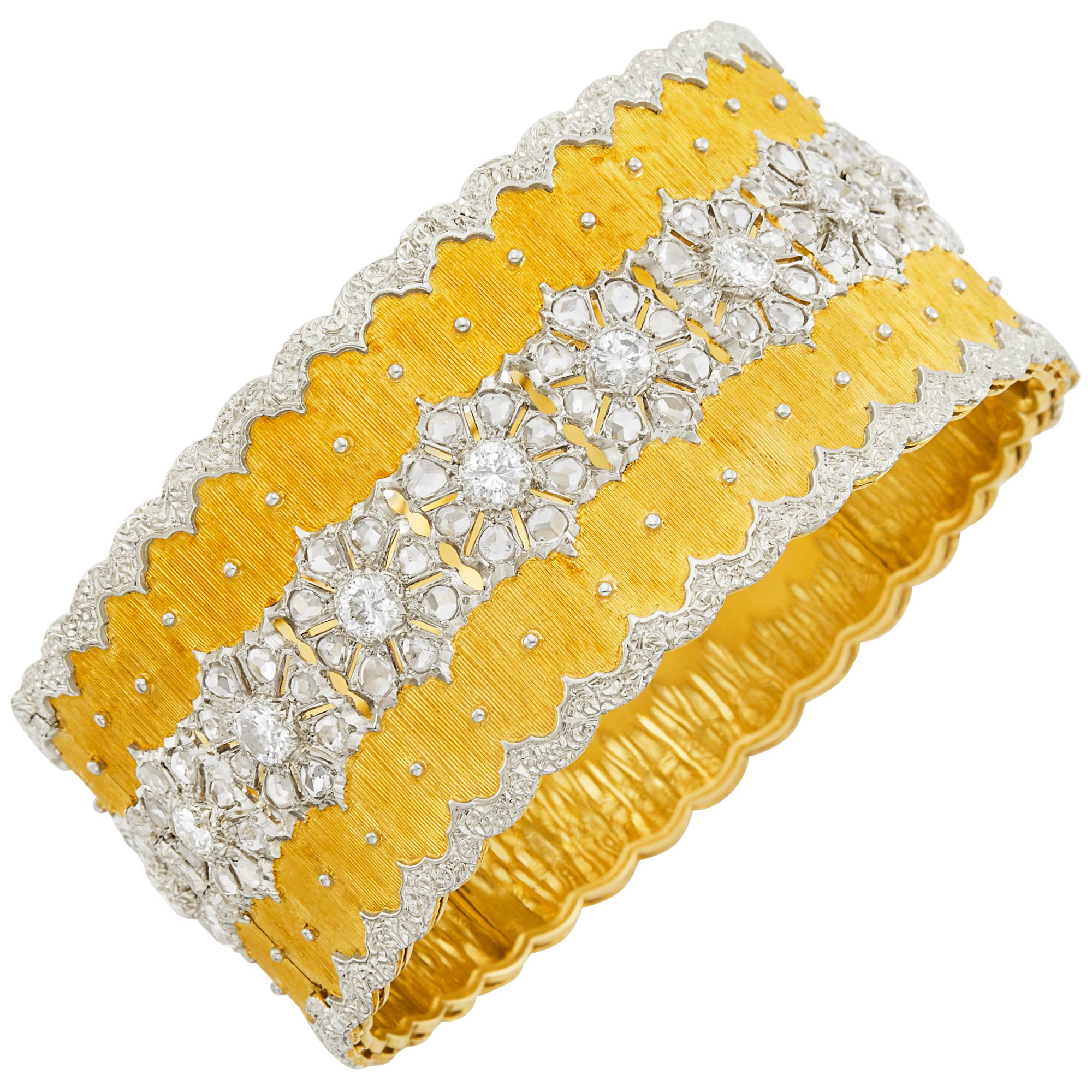 Lot image - Two-Color Gold and Diamond Cuff Bangle Bracelet, Buccellati