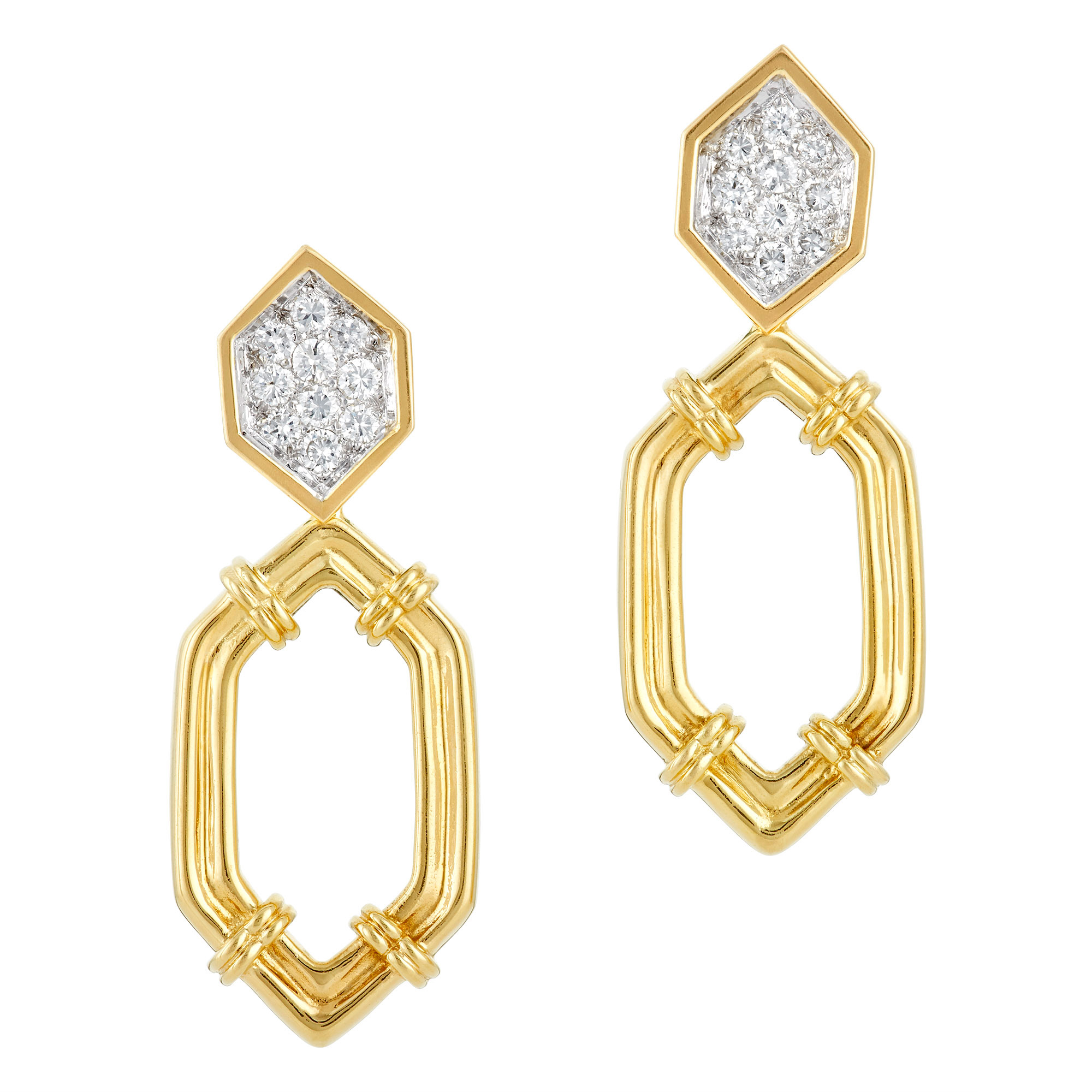 Lot image - Pair of Two-Color Gold and Diamond Pendant-Earrings