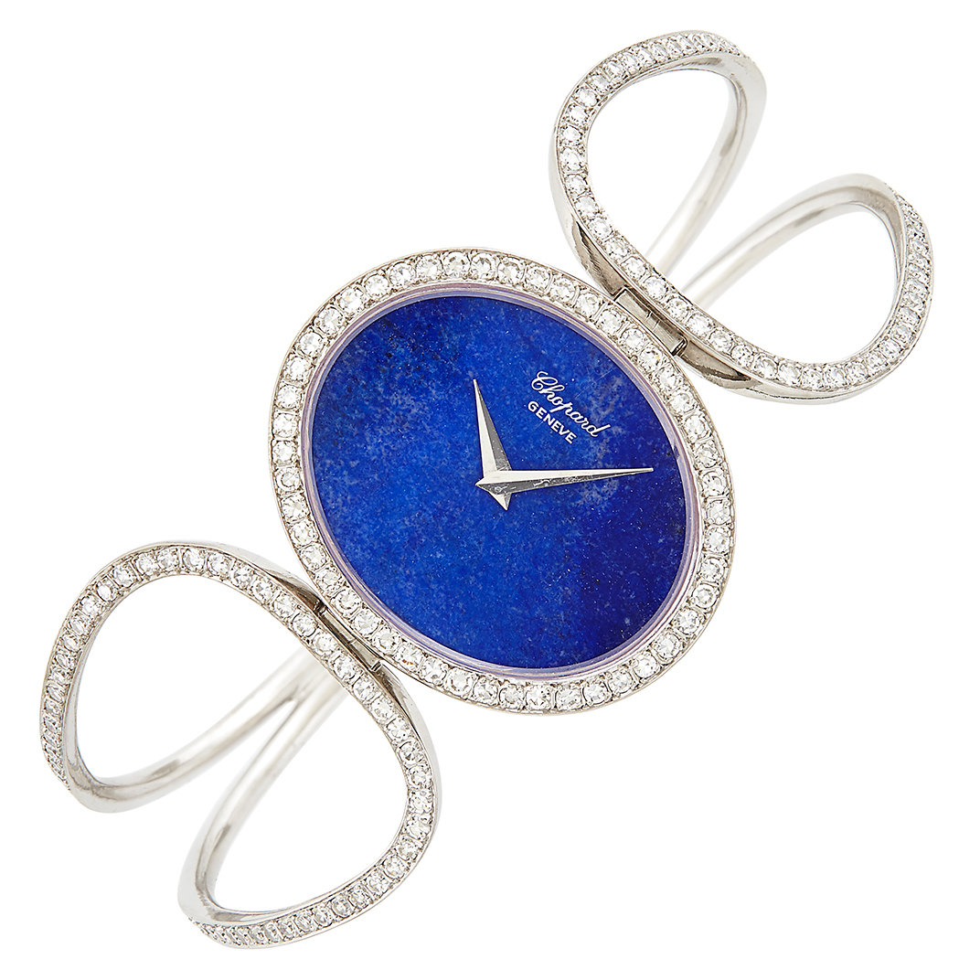 Lot image - White Gold, Lapis and Diamond Bangle-Watch, Chopard