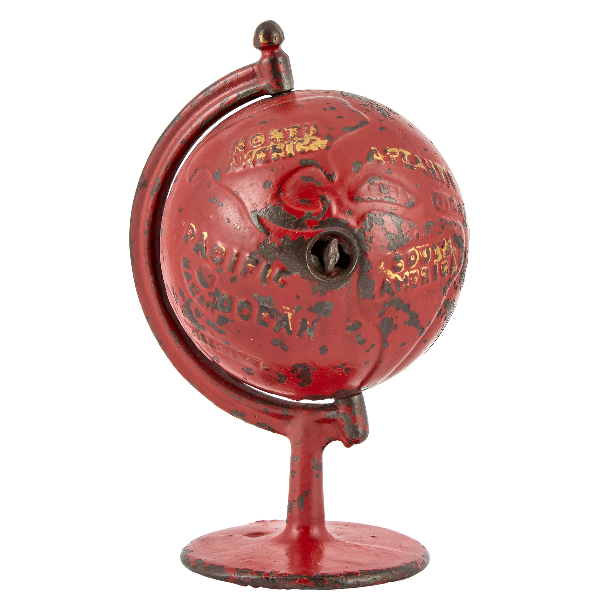 Lot image - Red Globe on Arc Cast Iron Spinning Bank