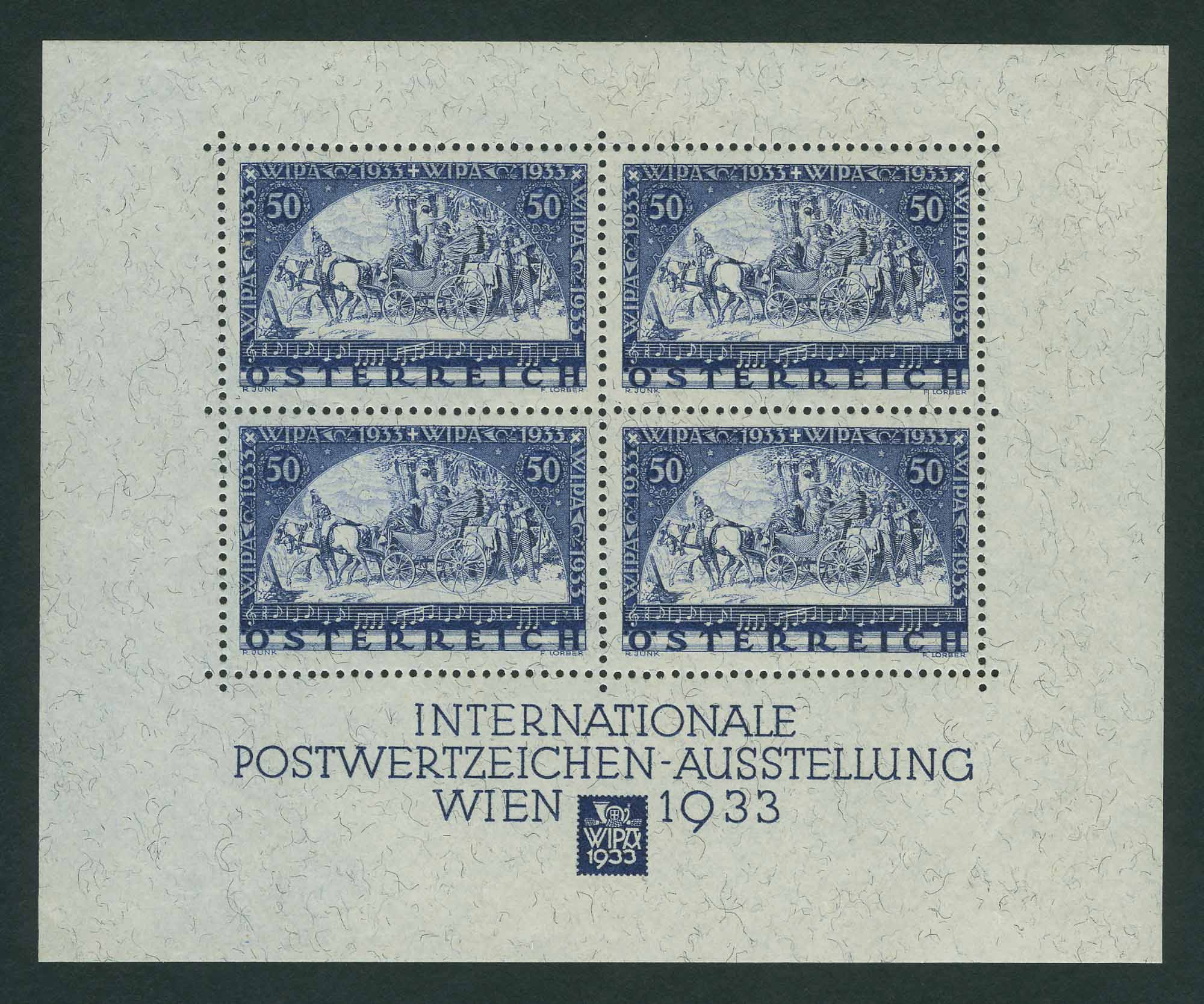 Lot image - Austria 1933 WIPA Souvenir Sheet Scott B111