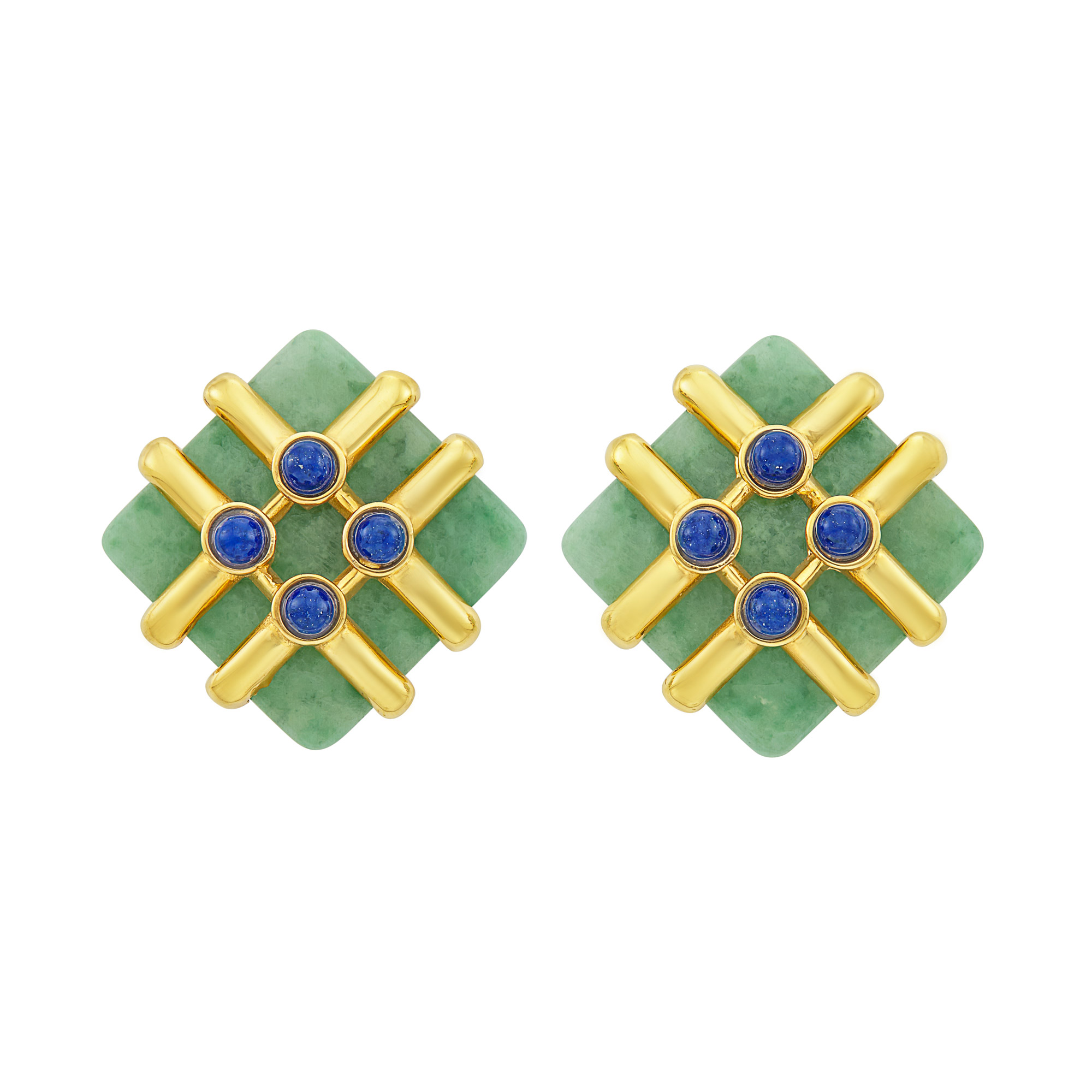 Lot image - Pair of Gold, Jade and Lapis Earclips, Cartier, Aldo Cipullo