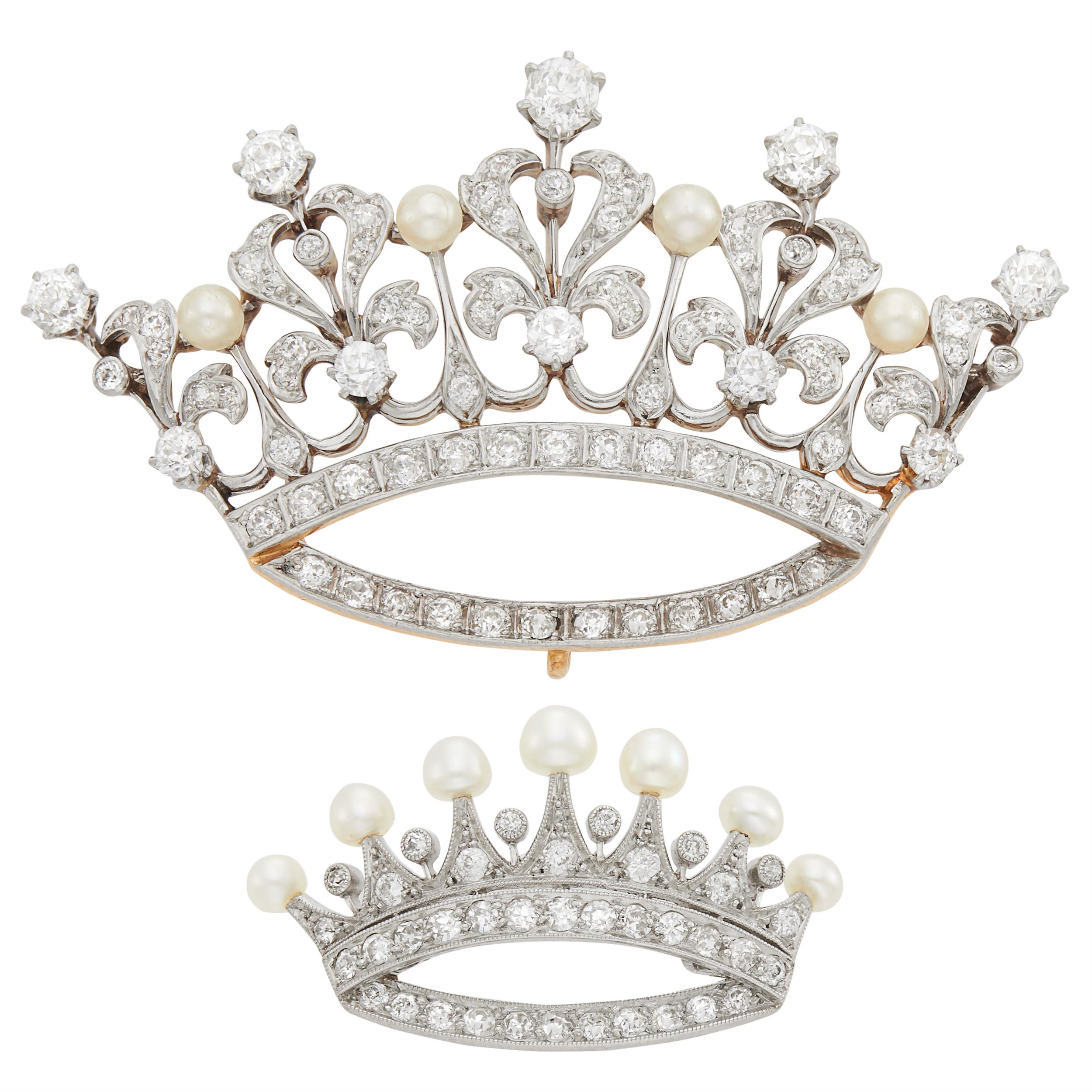 Lot image - Two Antique Gold, Platinum, Diamond and Pearl Crown Brooches