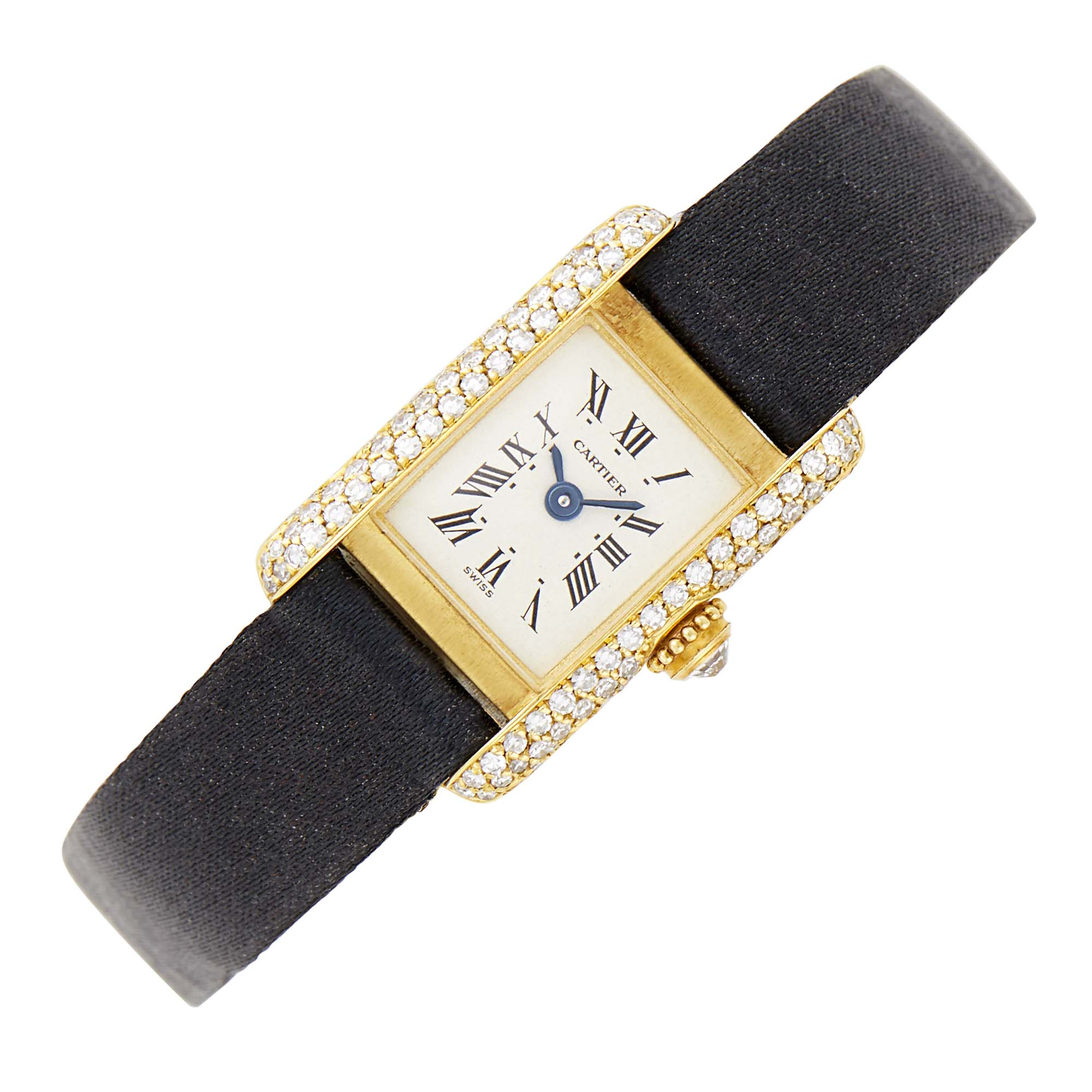 Lot image - Gold and Diamond Tank Wristwatch, Cartier