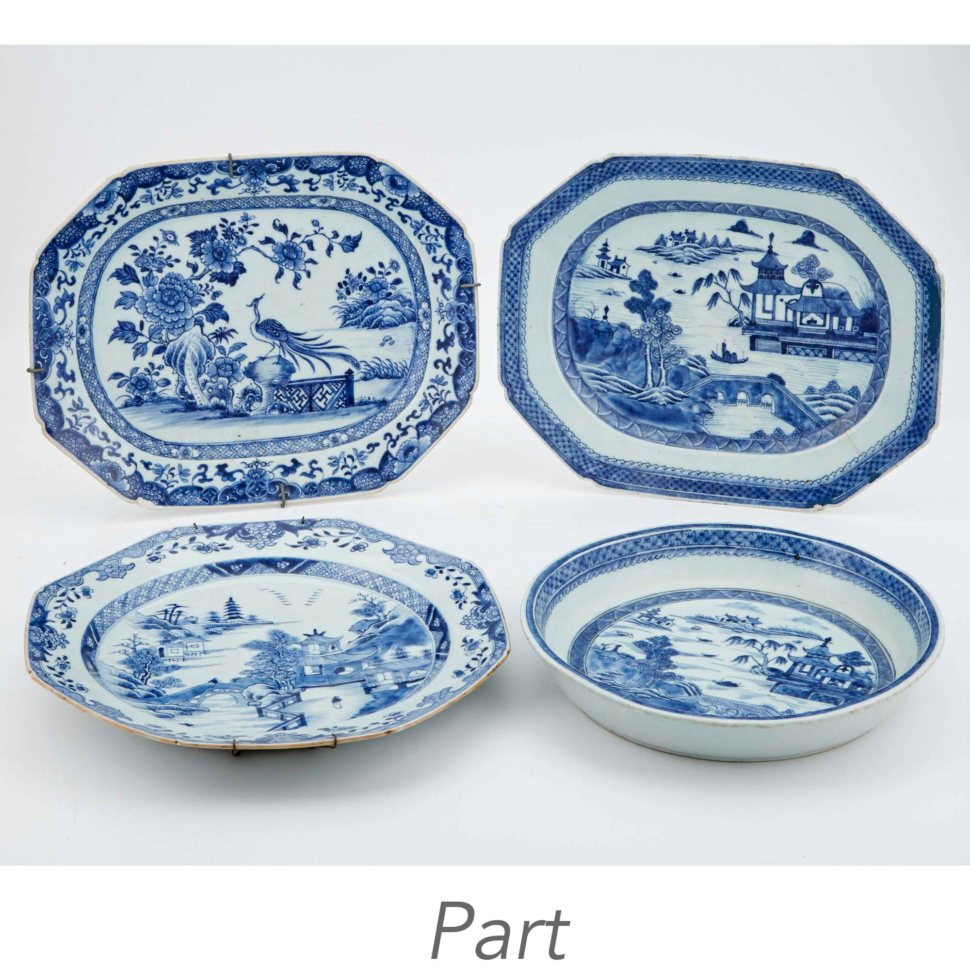 Lot image - Group of Eight Chinese Blue and White Export Porcelain Platters and Bowl