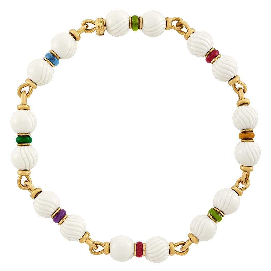 Lot image - Gold, White Porcelain Bead and Multicolored Stone Bead Chandra Necklace, Bulgari