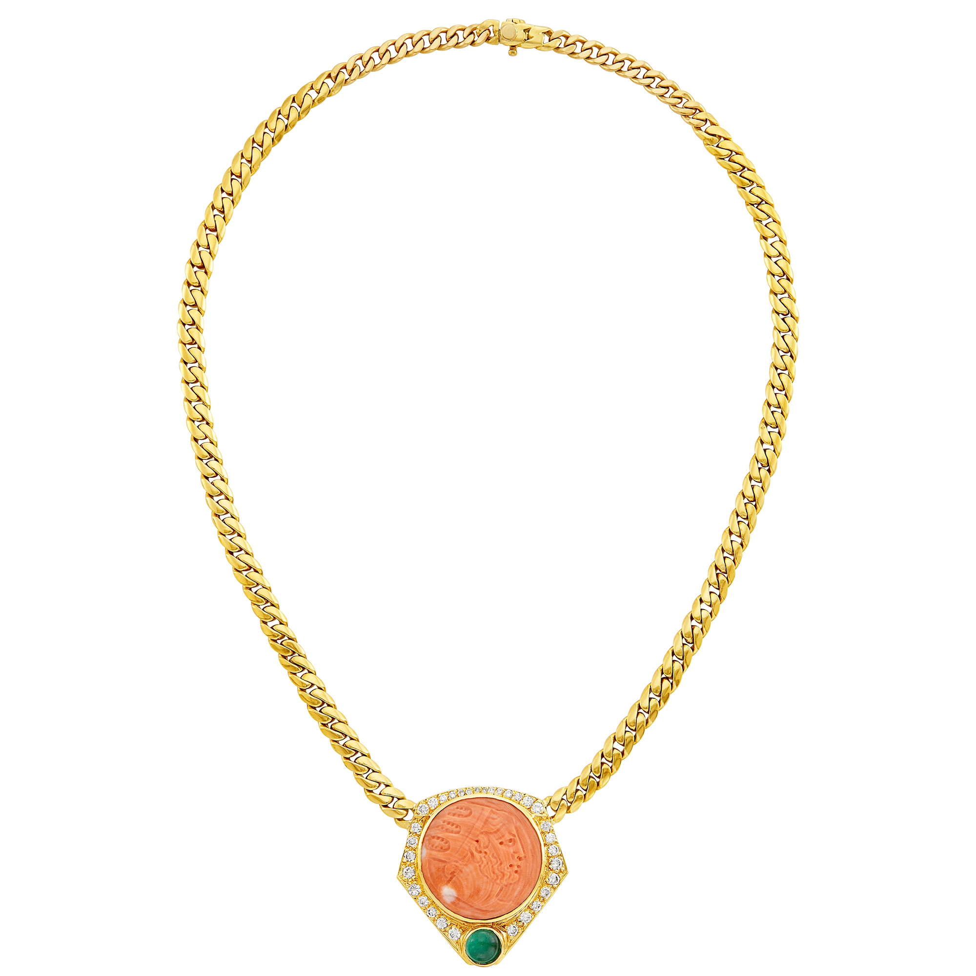 Lot image - Gold, Carved Coral, Cabochon Emerald and Diamond Pendant-Necklace