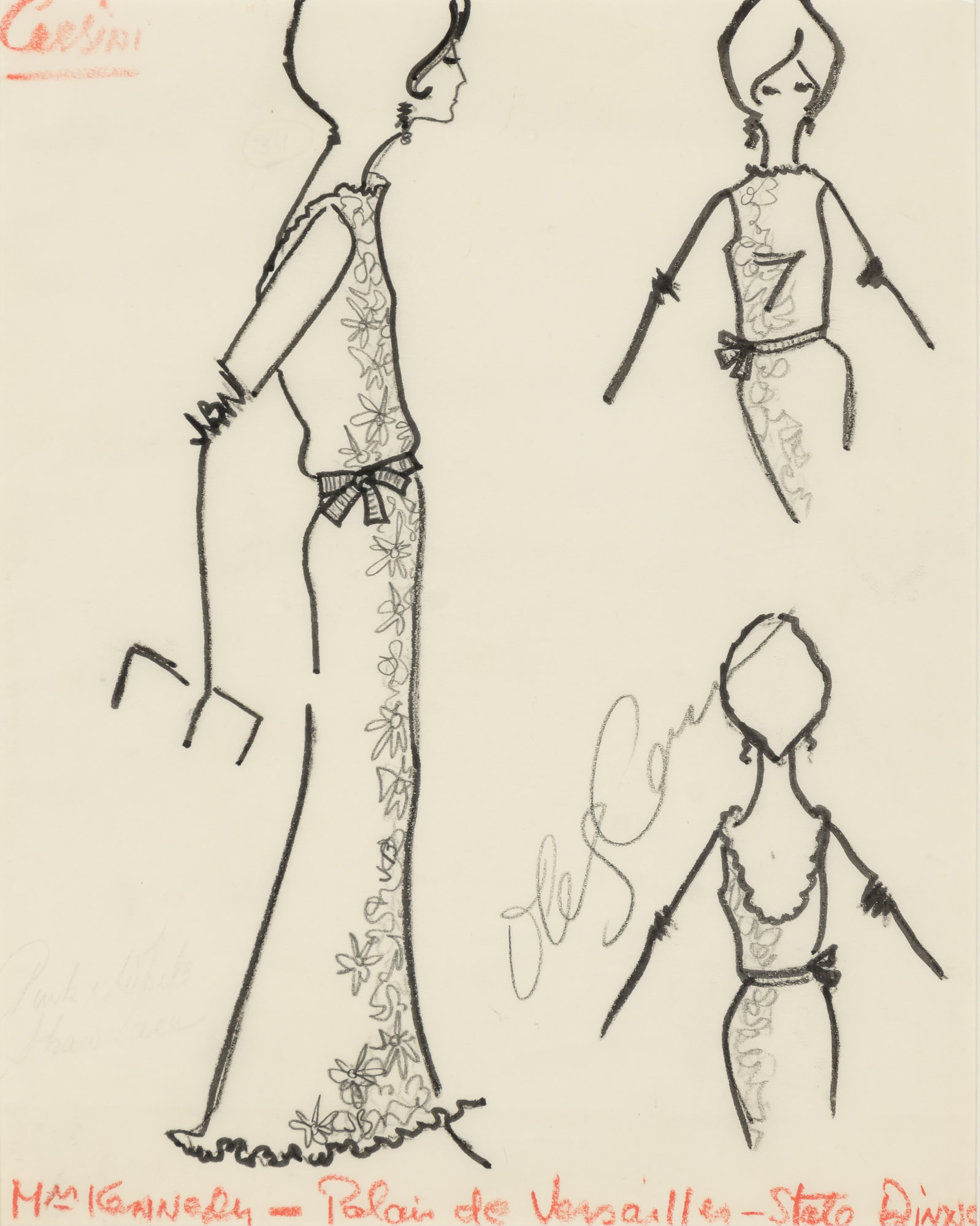Lot image - CASSINI, OLEG  Fashion sketch titled Mrs. Kennedy-Palais de Versailles-State Dinner.