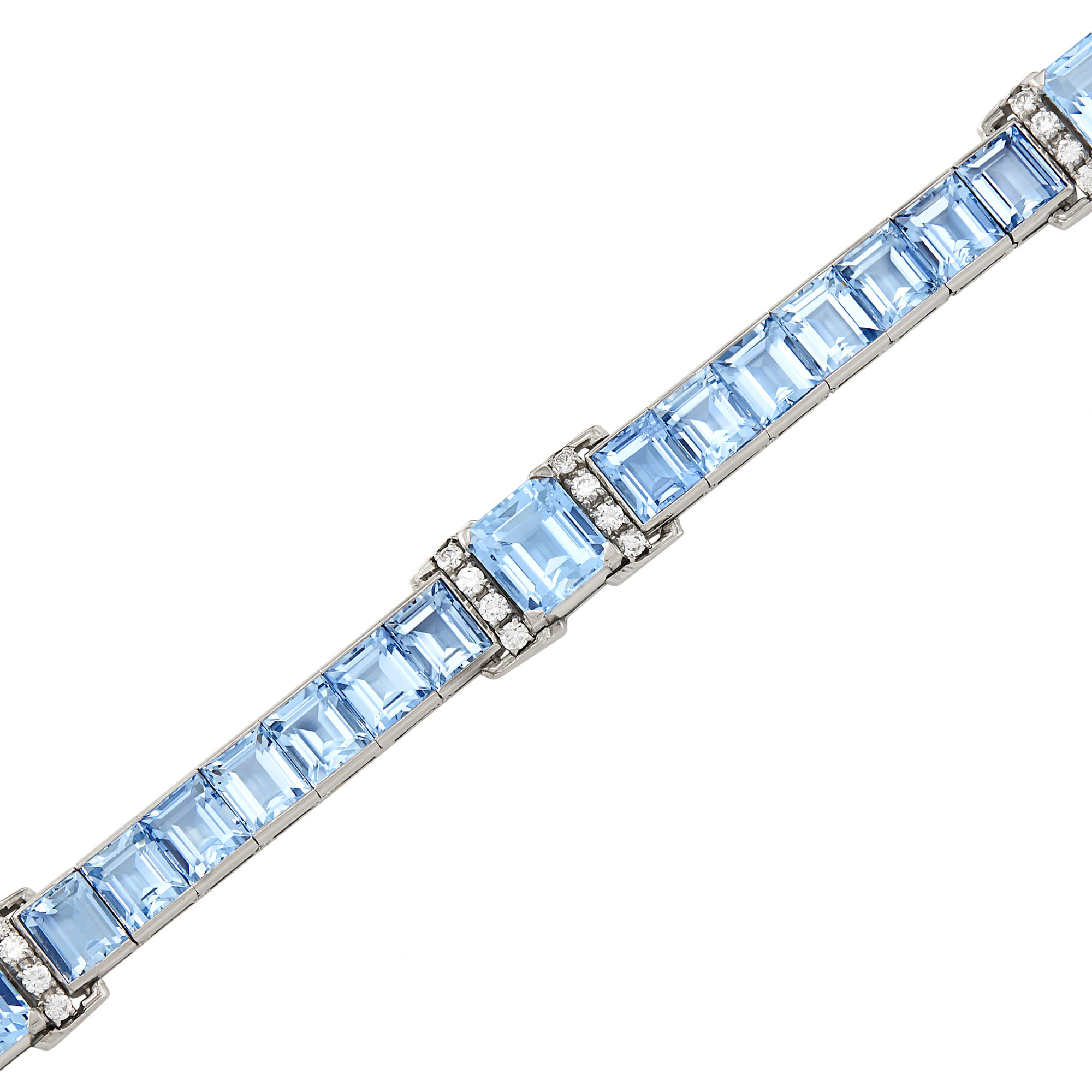 Lot image - Platinum, Aquamarine and Diamond Bracelet, J.E. Caldwell