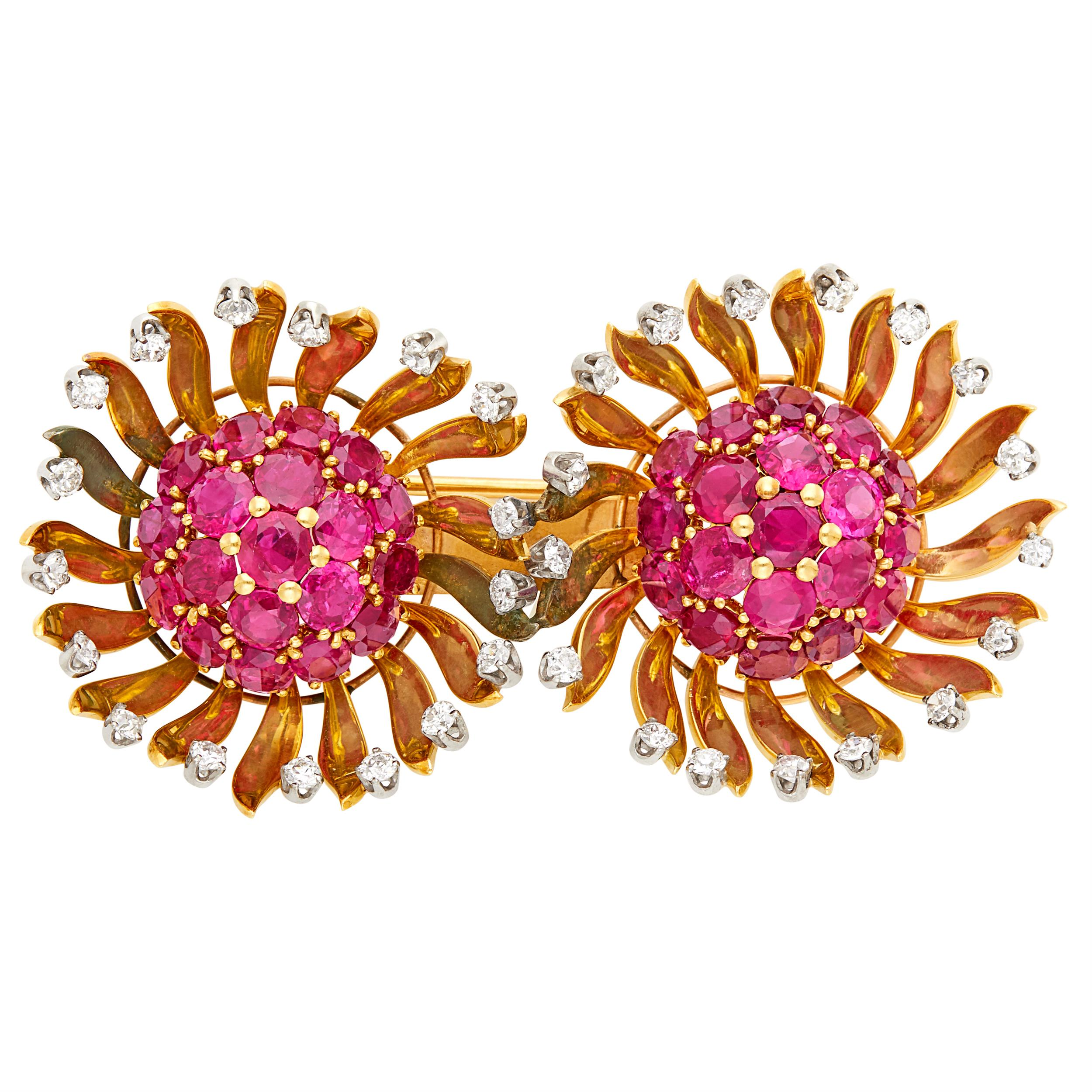Lot image - Gold, Ruby and Diamond Double Flower Brooch