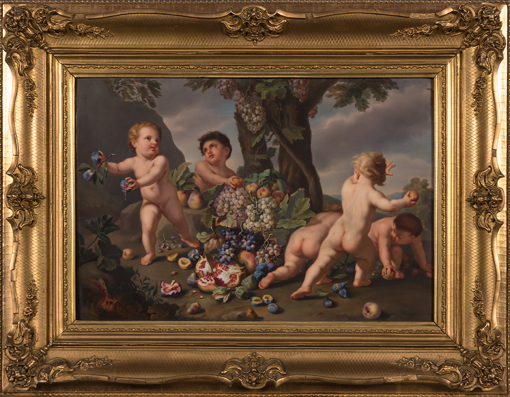 Lot image - KPM Painted Porcelain Plaque in a Giltwood Frame