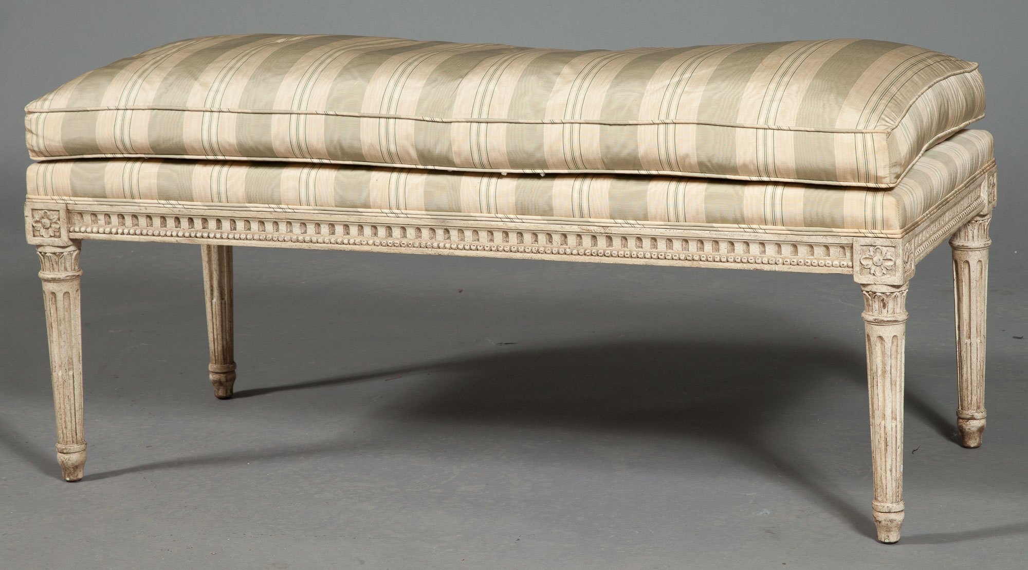 Lot image - Louis XVI Style Painted and Upholstered Bench