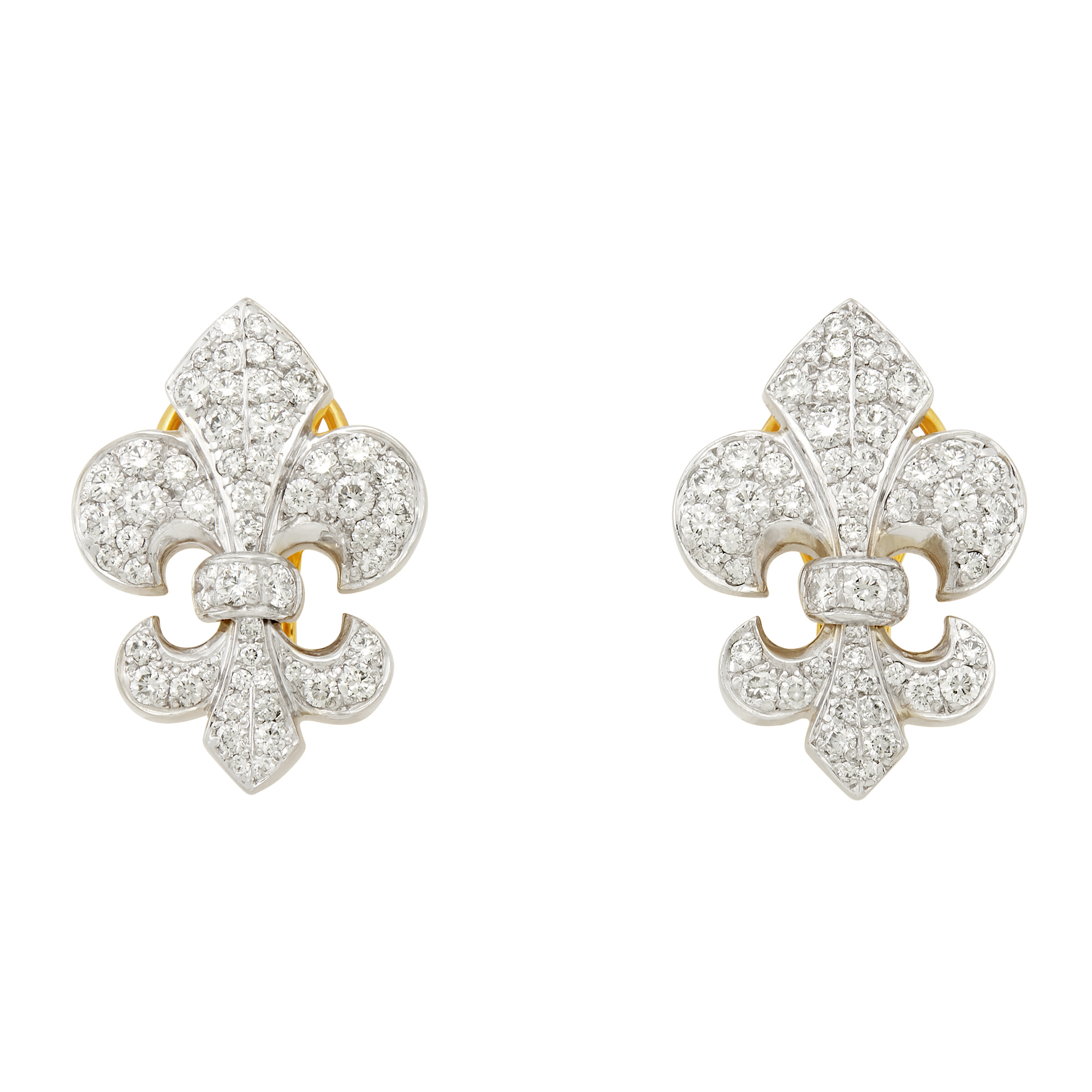 Lot image - Pair of Two-Color Gold and Diamond Fleur-de-Lys Earclips