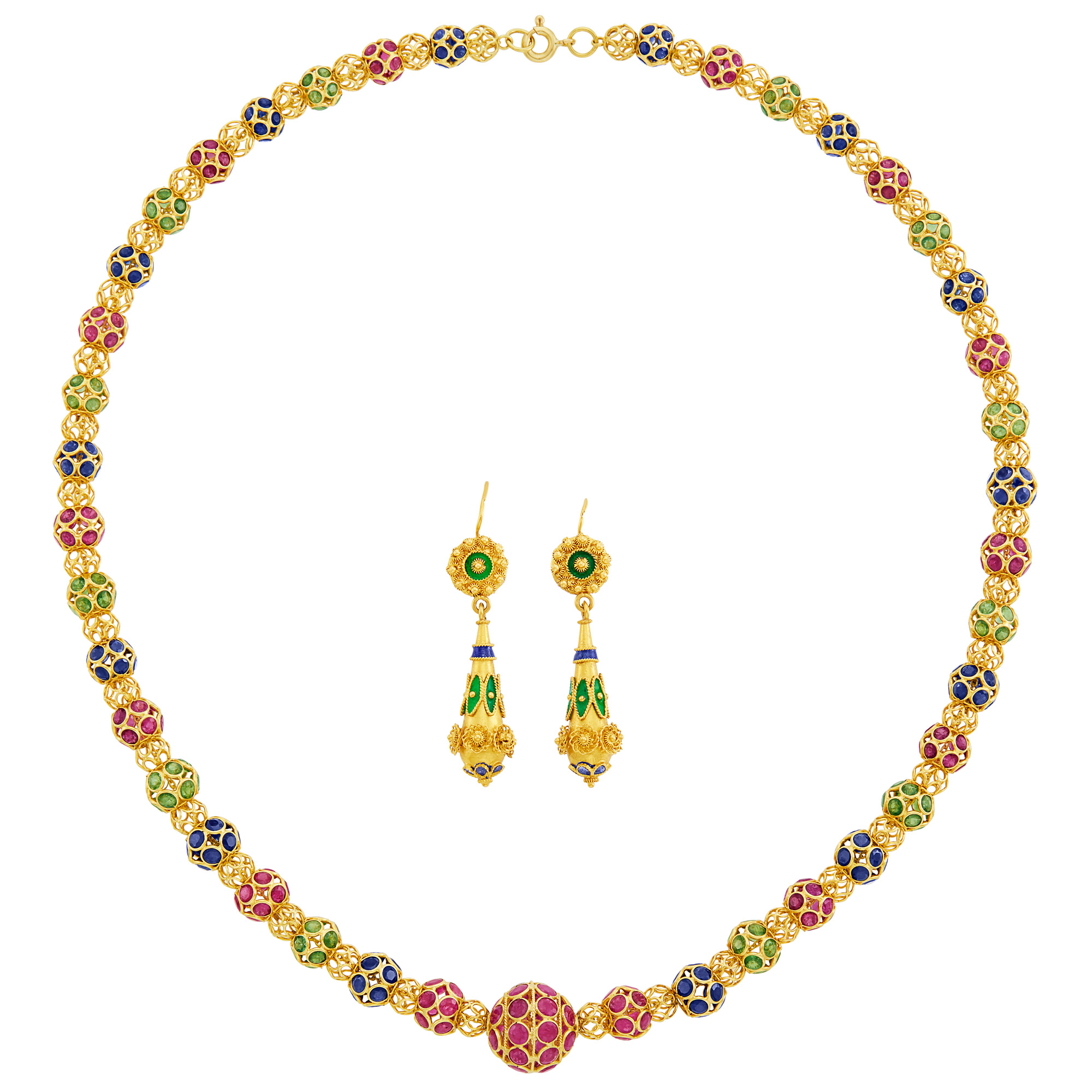 Lot image - Gold and Gem-Set Bead Necklace and Pair of Gold and Enamel Pendant-Earrings